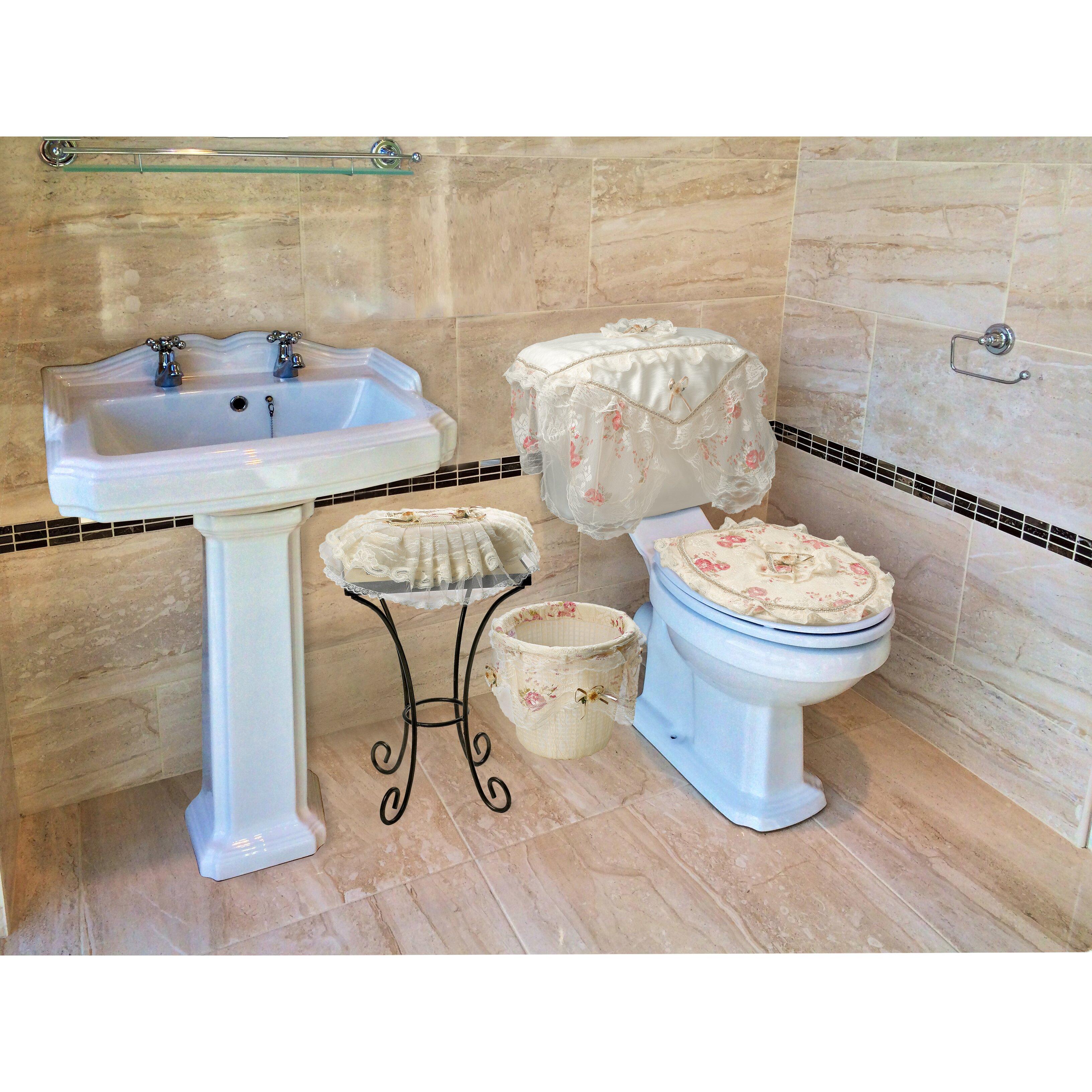 Violet linen eden lace 4 piece bathroom set reviews for Bathroom 4 piece set