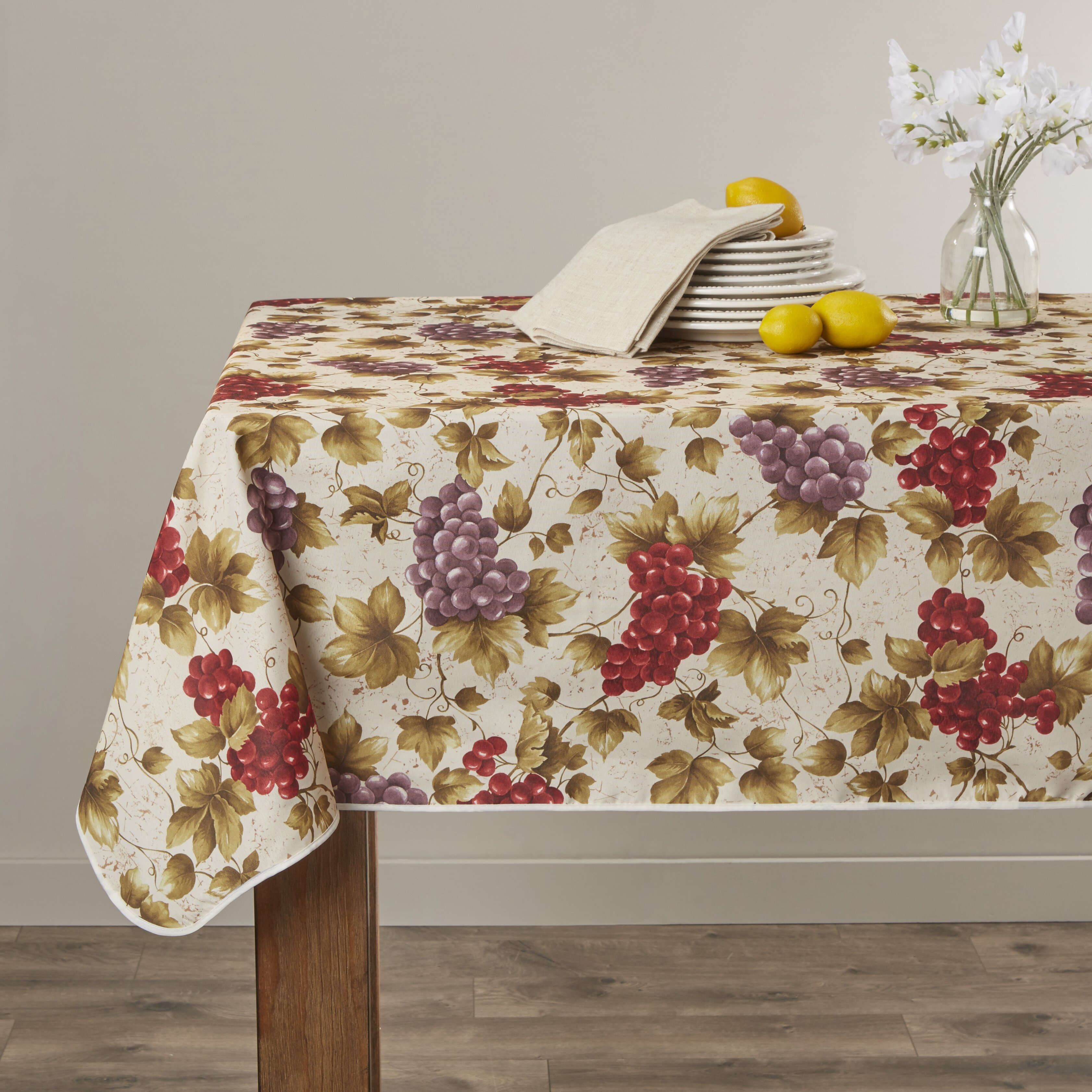 Violet Linen European Vineyard Tablecloth Amp Reviews Wayfair