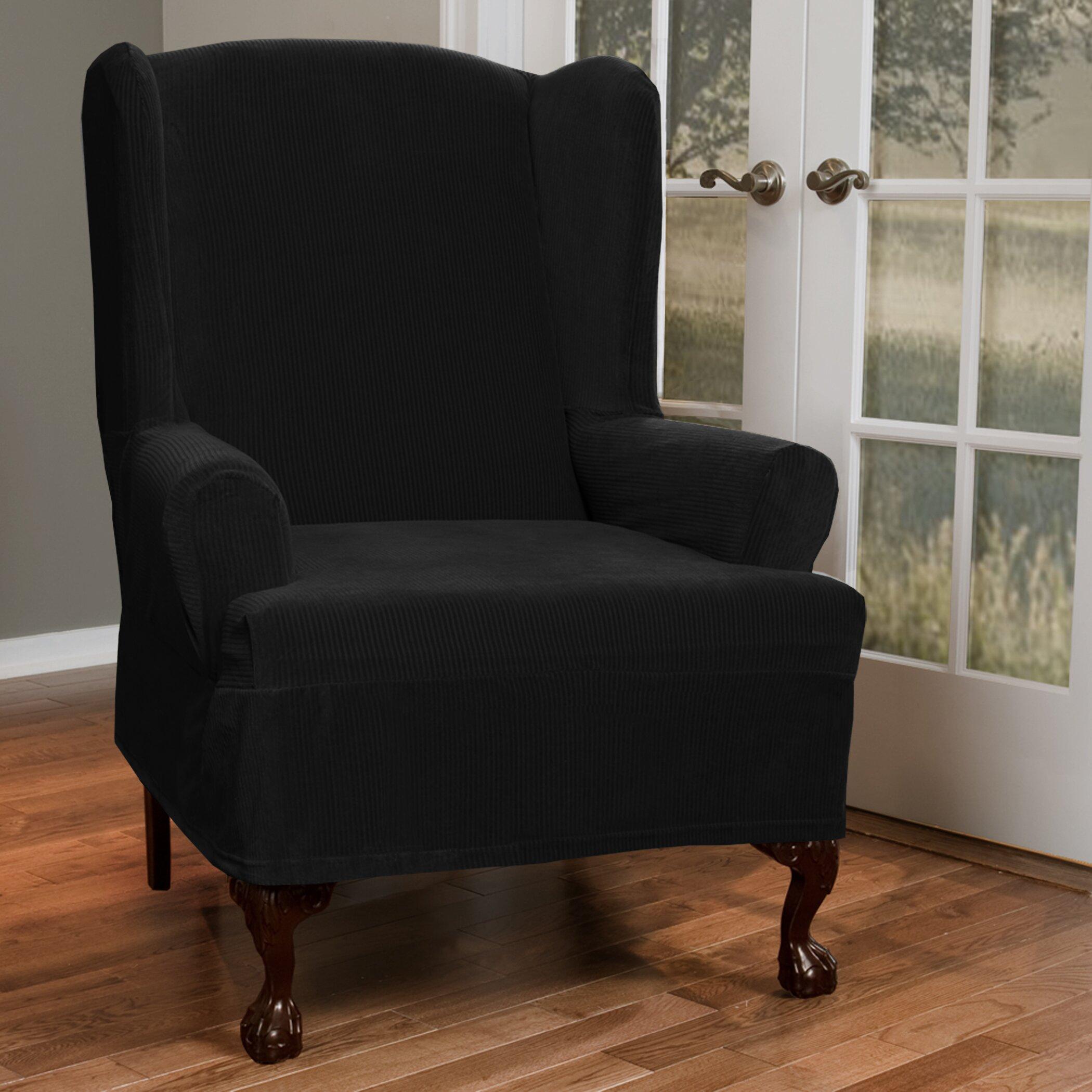 Maytex Collin Stretch T Cushion Wing Chair Slipcover