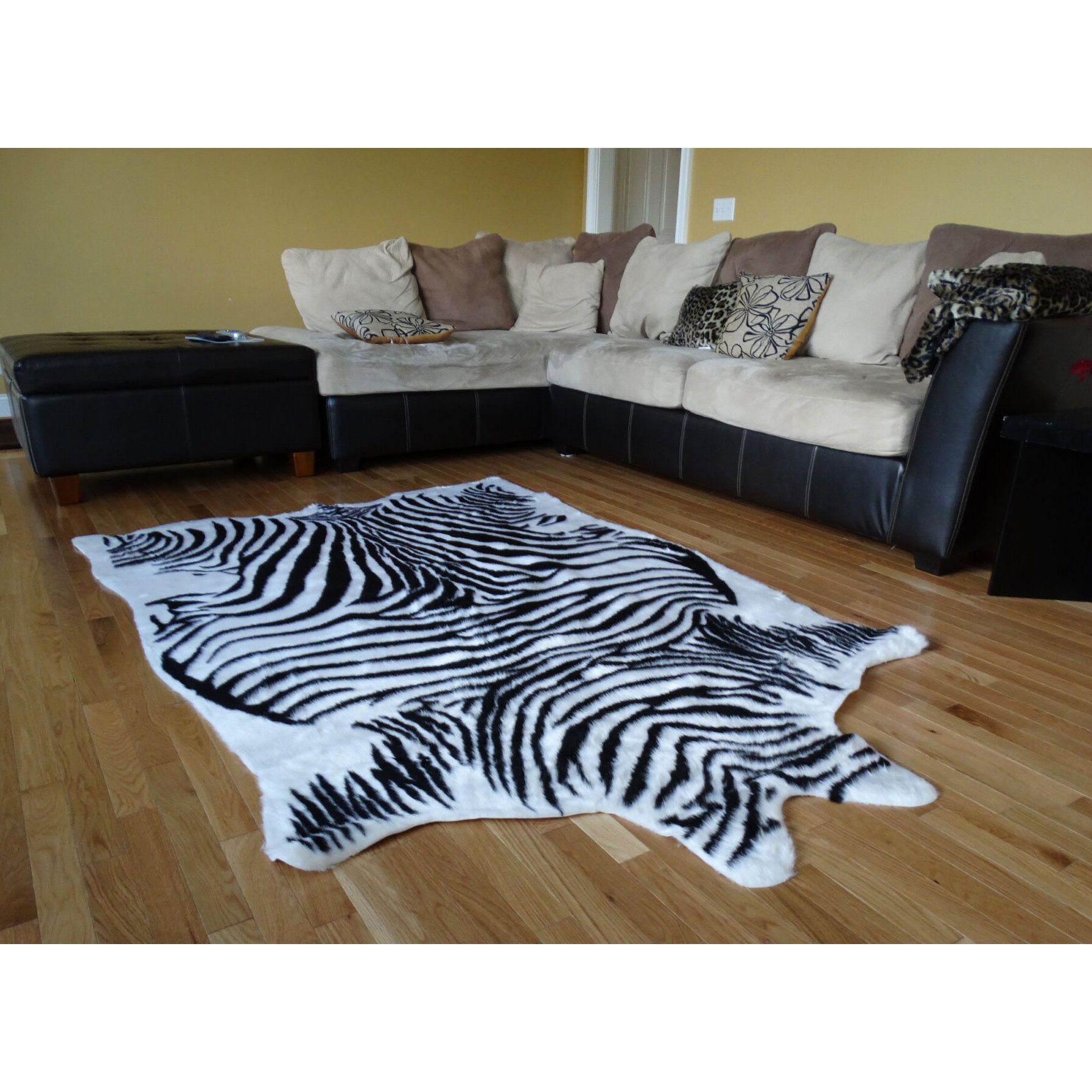 Acura Rugs Animal Hide White/Black Zebra Area Rug
