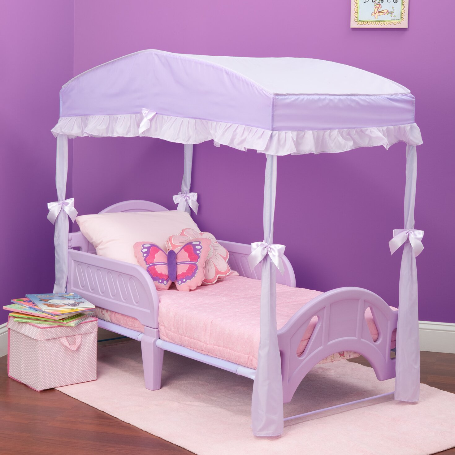 Delta children children 39 s girls canopy for toddler bed for Toddler bunk beds