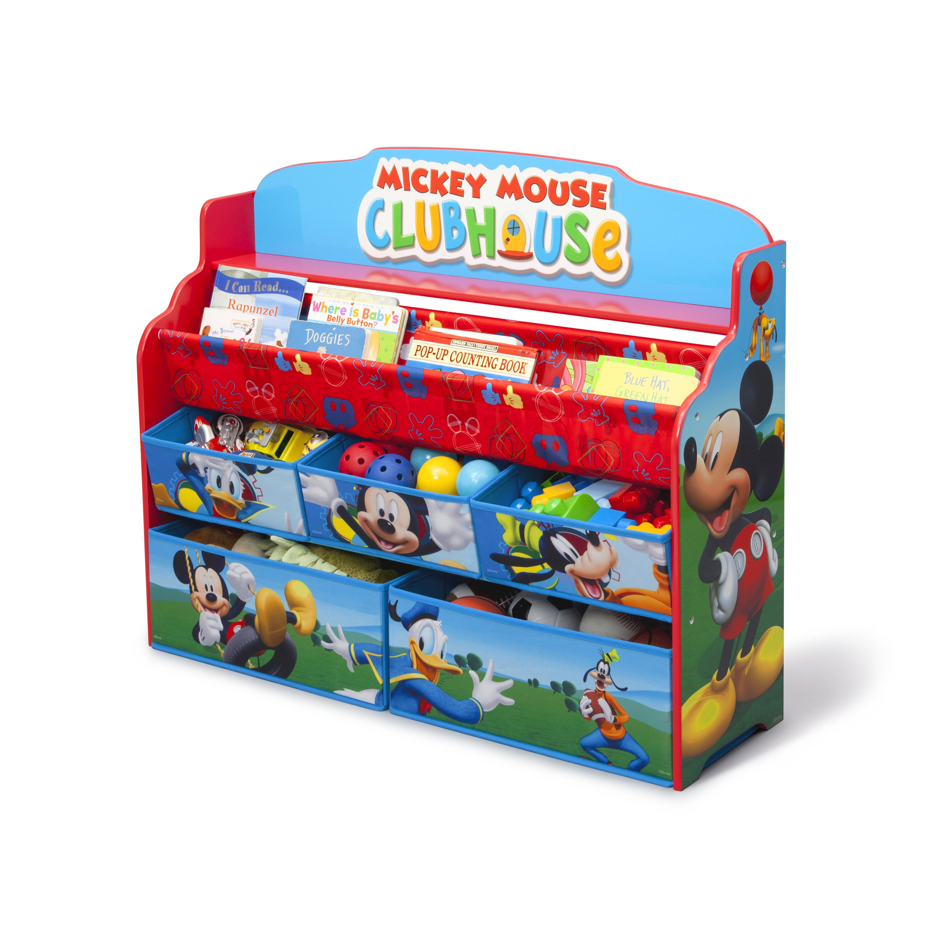 Delta children mickey mouse deluxe book and toy organizer for Toy and book storage