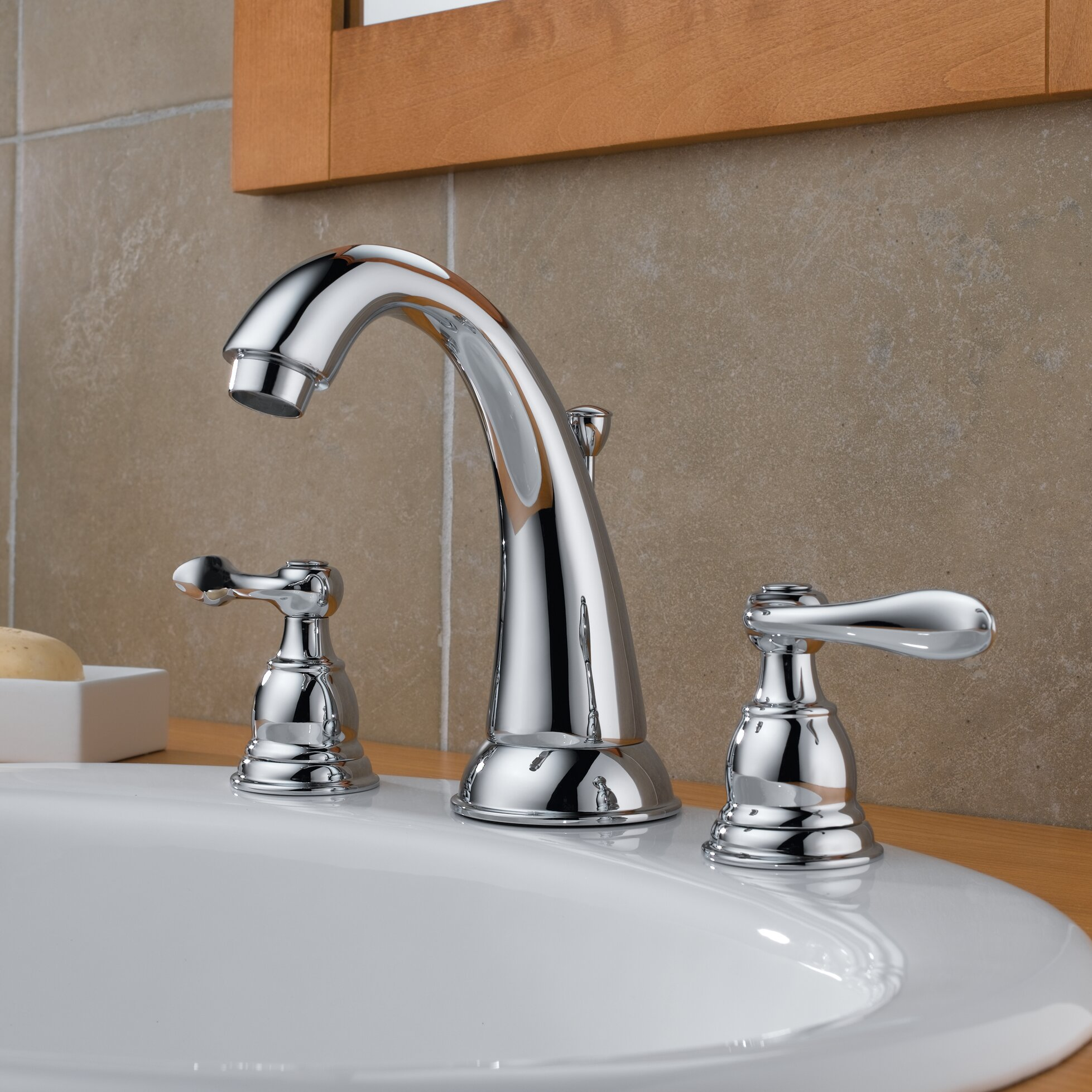 Delta windemere widespread bathroom faucet with double lever handles reviews wayfair for Delta two handle bathroom faucet
