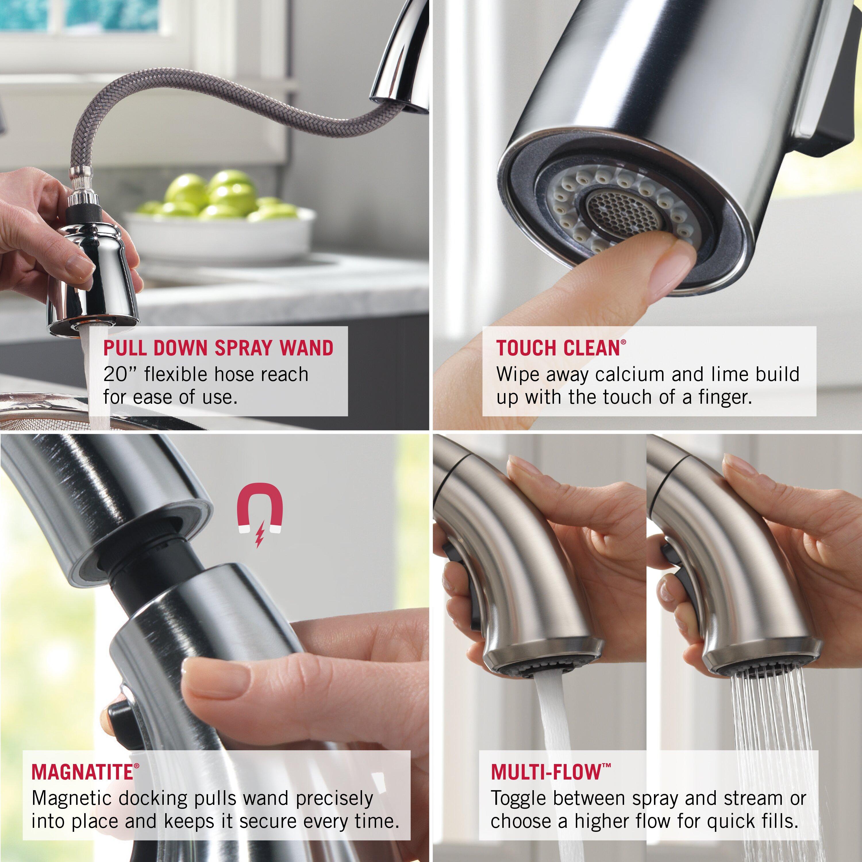 Delta Addison Single Handle Pull Down Standard Kitchen Faucet Reviews Wayfair