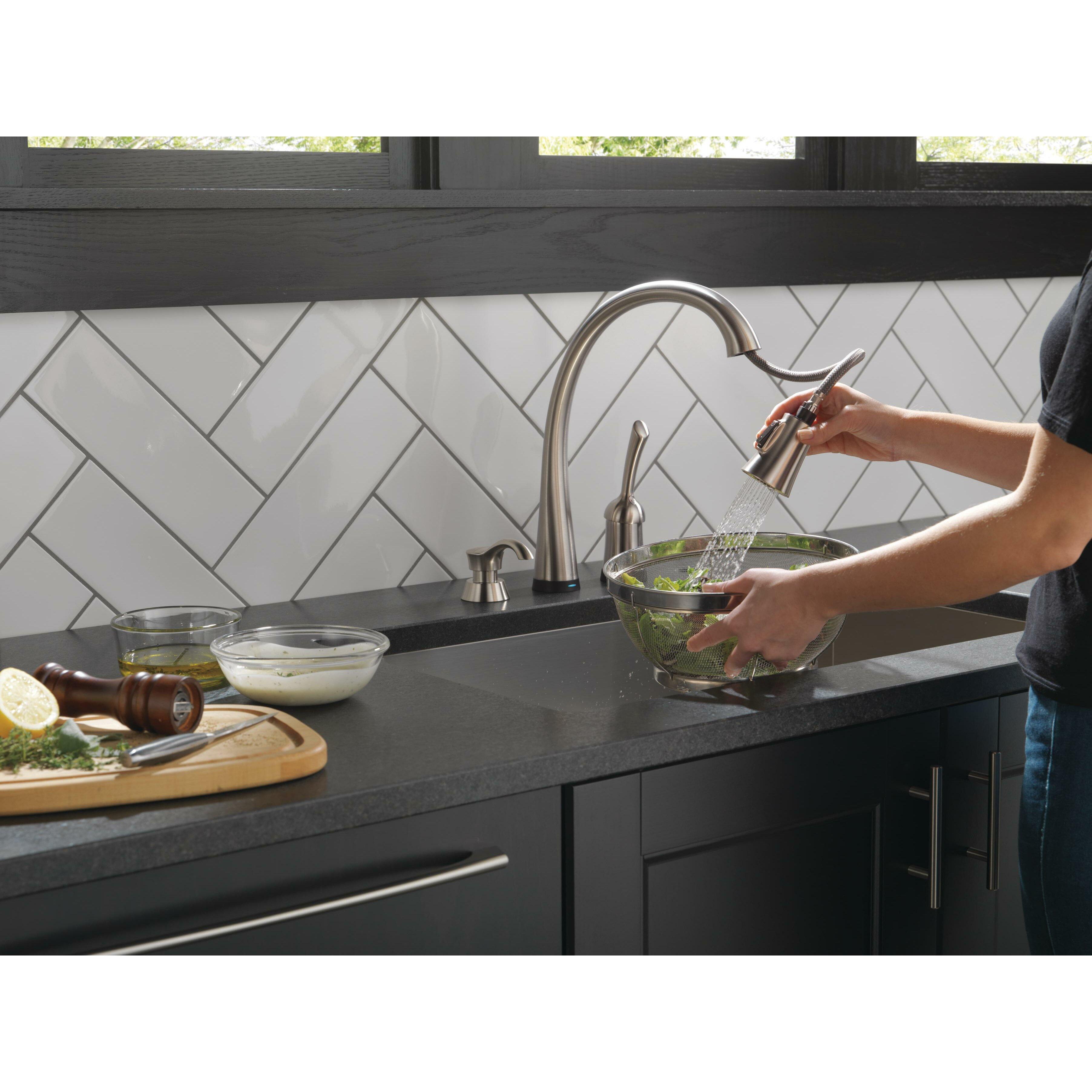 delta pilar single handle standard kitchen faucet with delta wayfair