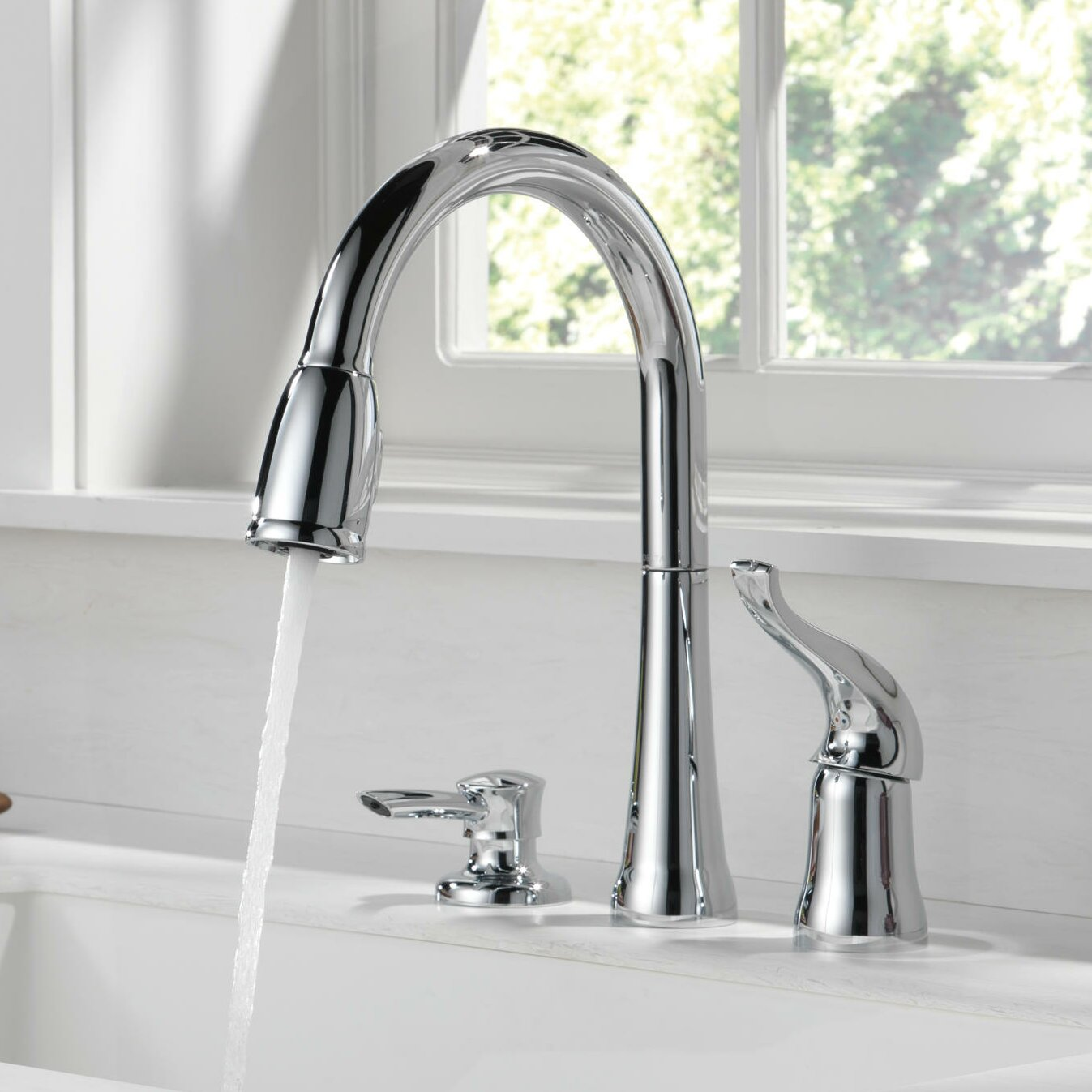 Kate Single Handle Pull Down Kitchen Faucet With Soap Dispenser