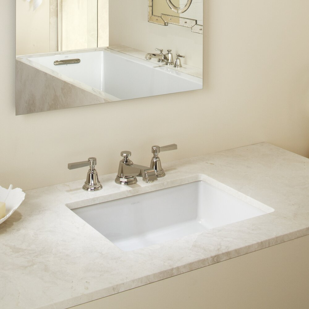 kohler verticyl rectangular undermount bathroom sink with overflow reviews wayfair