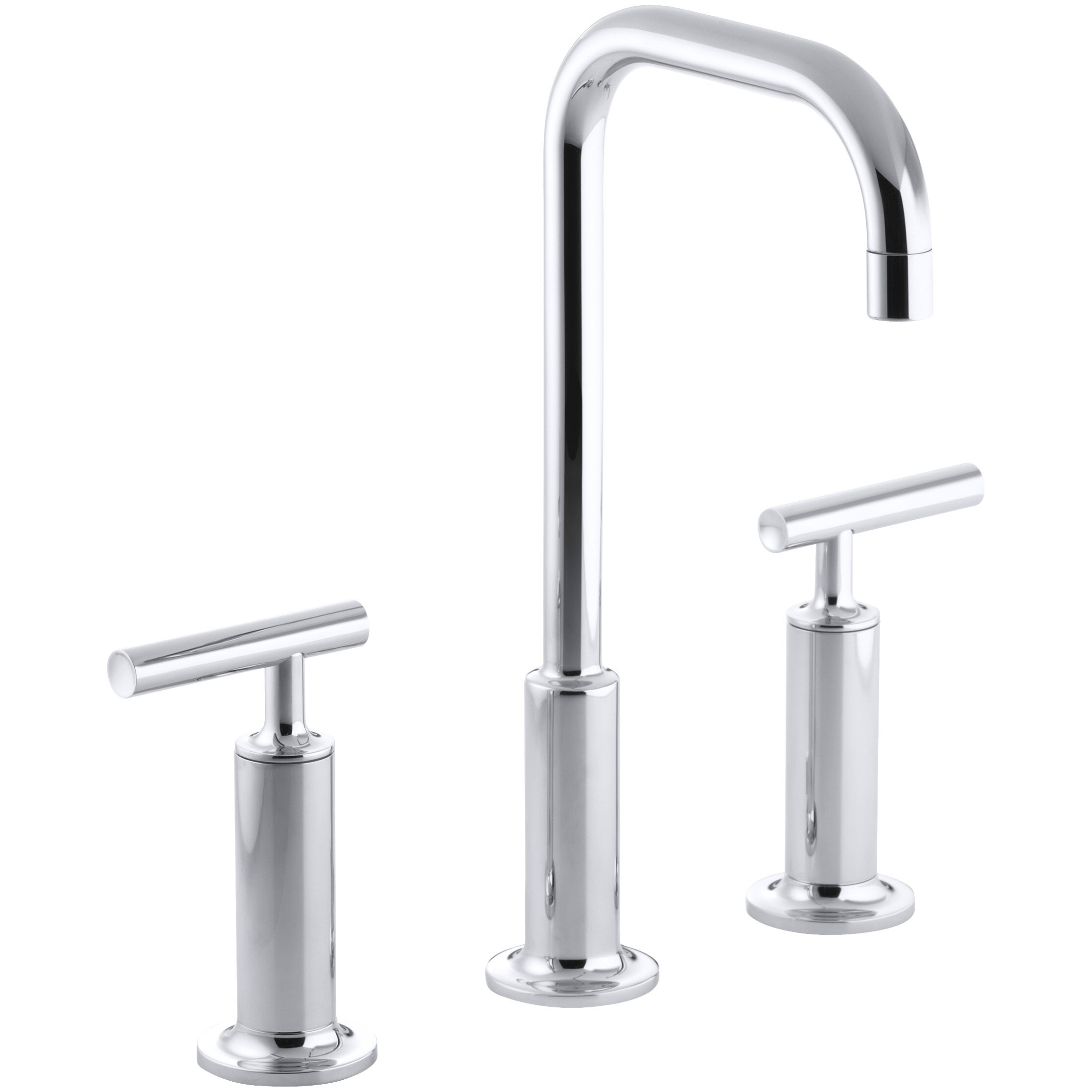Kohler Purist Widespread Bathroom Sink Faucet With High Lever Handles And High Gooseneck Spout