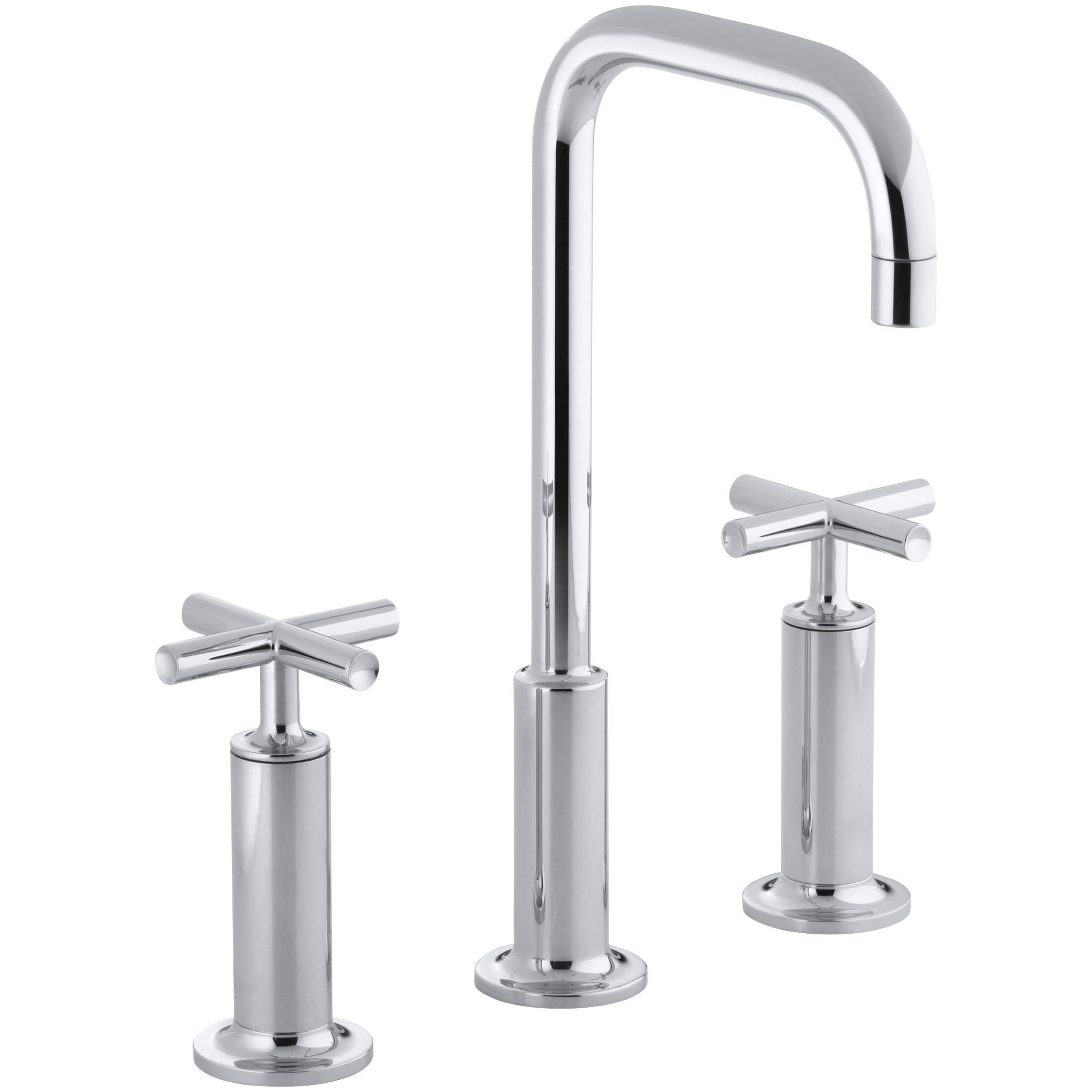Kohler Purist Widespread Bathroom Sink Faucet With High Cross Handles And High Gooseneck Spout