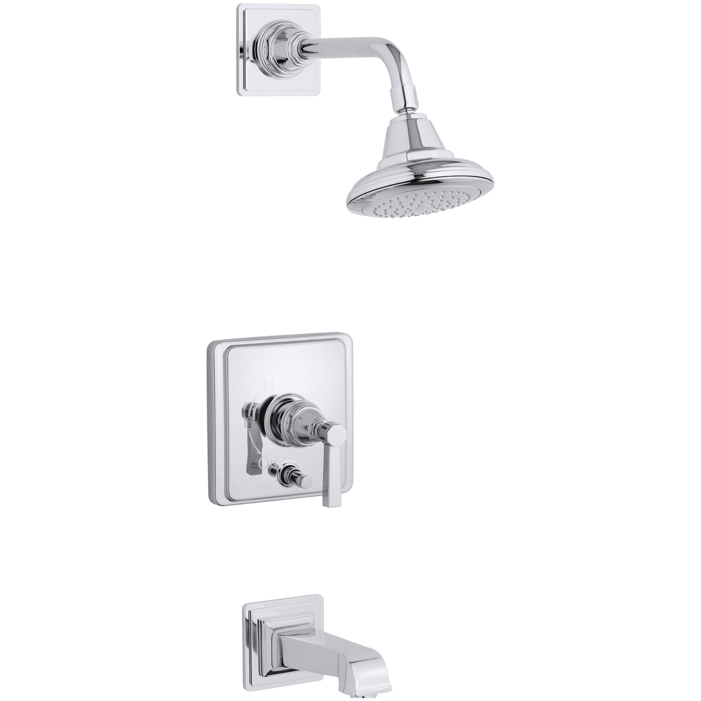 Kohler Pinstripe Pure Rite Temp Pressure Balancing Bath And Shower Faucet Trim With Lever Handle