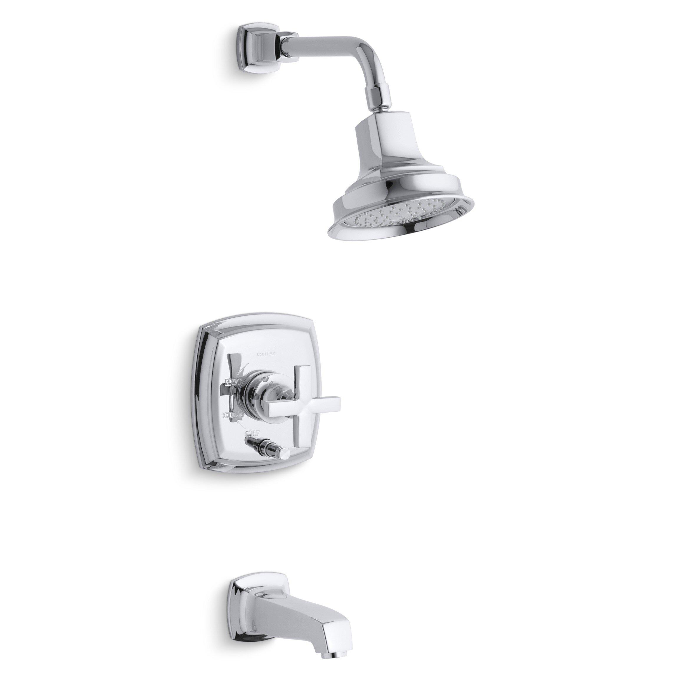Kohler Margaux Rite Temp Pressure Balancing Bath And Shower Faucet Trim With Push Button