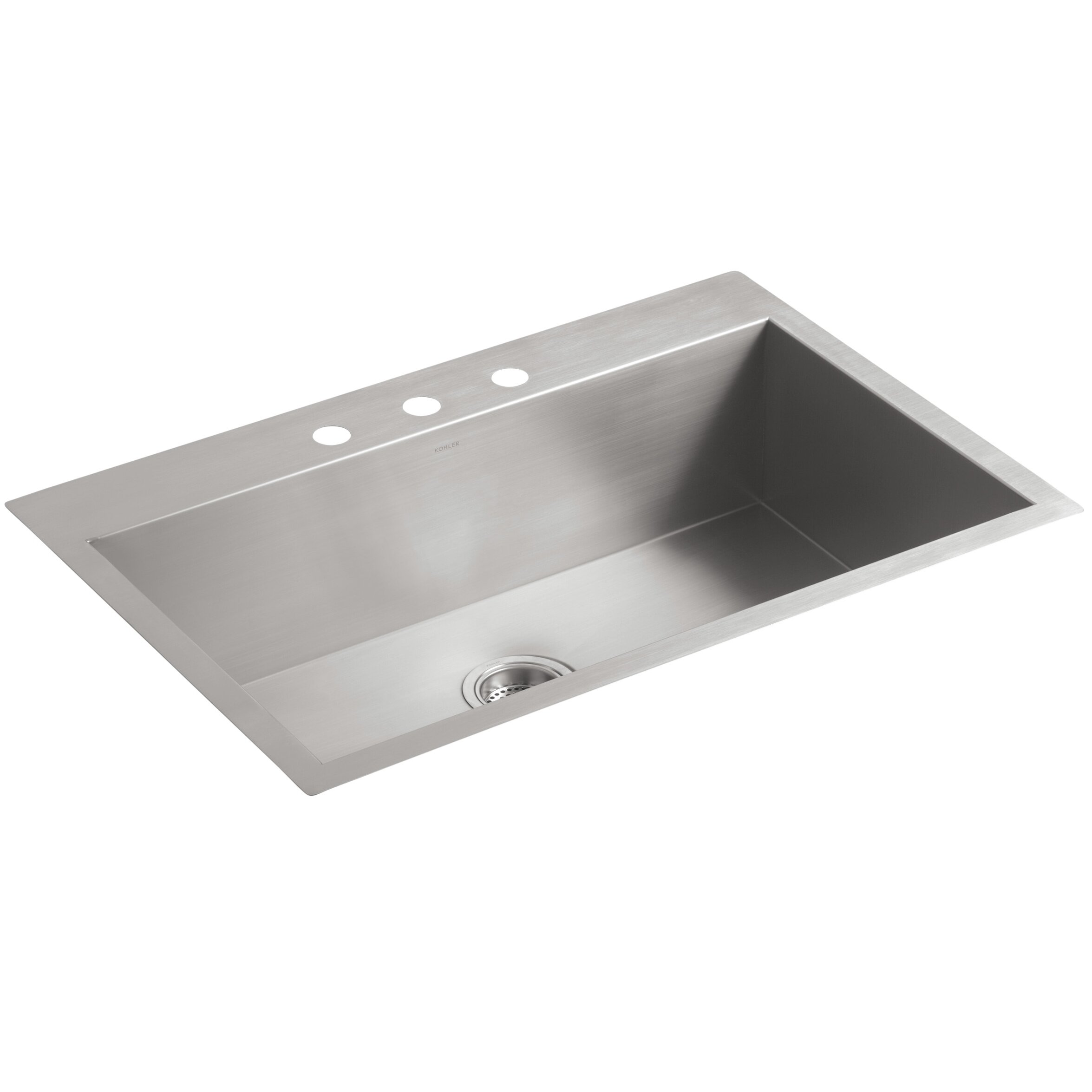 Kohler vault 33 x 22 x 9 5 16 top mount under mount for Best faucet for kitchen sink