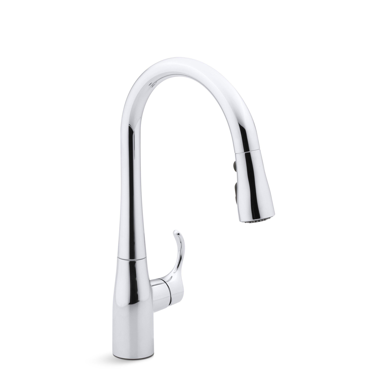 Kohler Simplice Single Hole Kitchen Sink Faucet With 15 3 8 Pull Down Spout Docknetik Magnetic