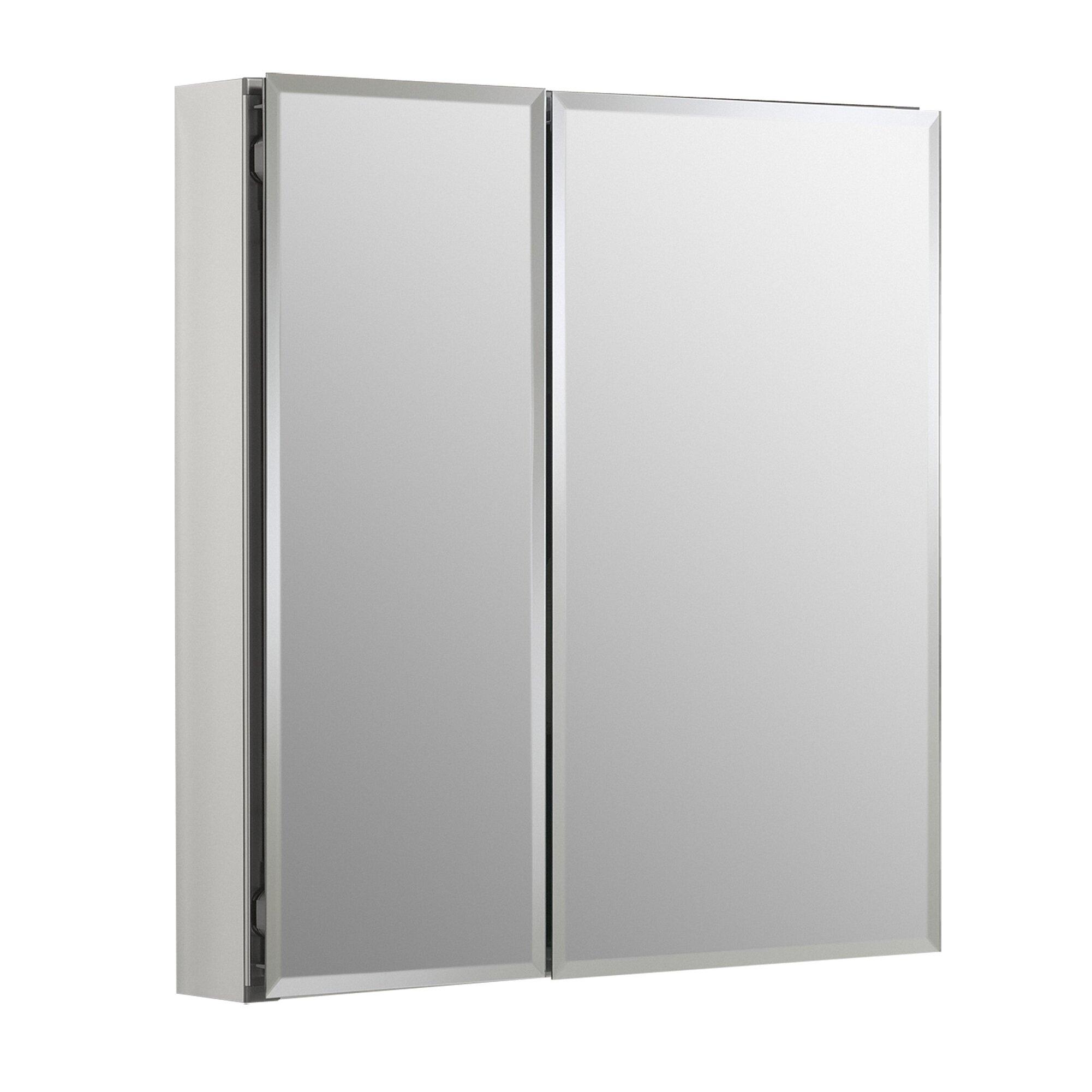 kohler 25 x 26 aluminum mirrored medicine cabinet reviews wayfair. Black Bedroom Furniture Sets. Home Design Ideas
