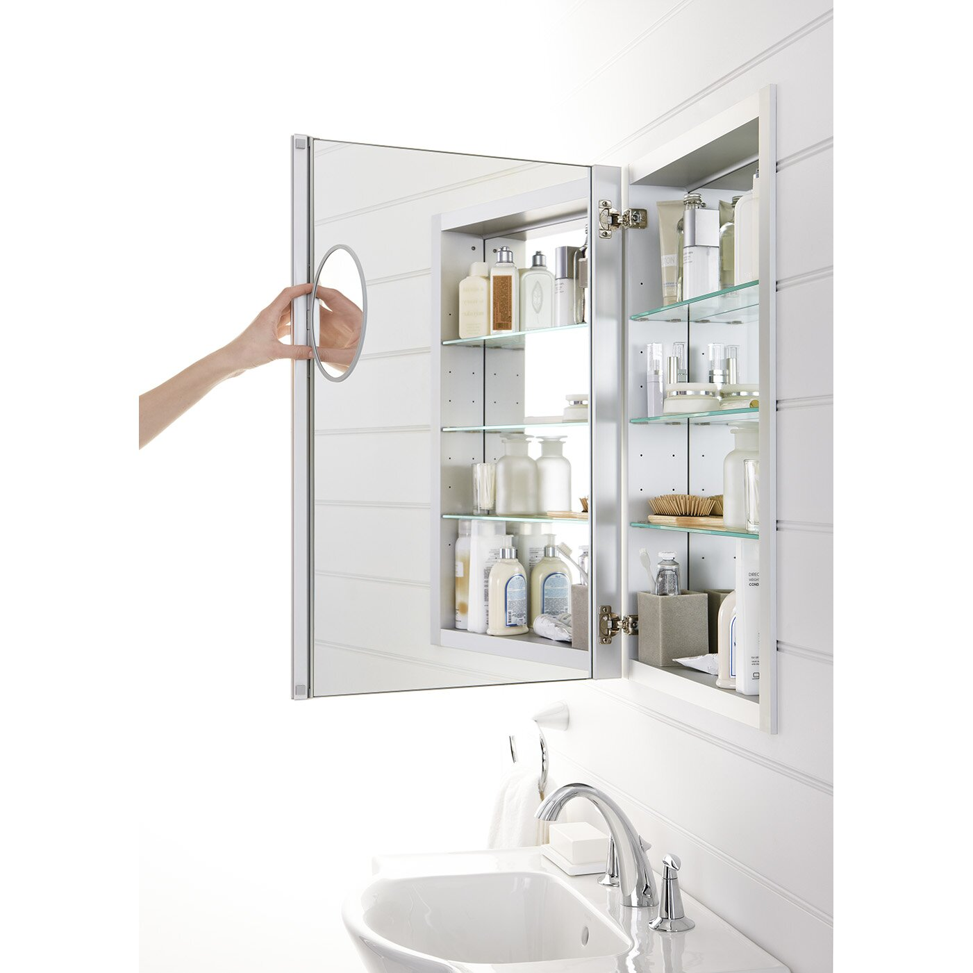 Kohler Verdera 20 W X 30 H Aluminum Medicine Cabinet With Adjustable Magnifying Mirror And