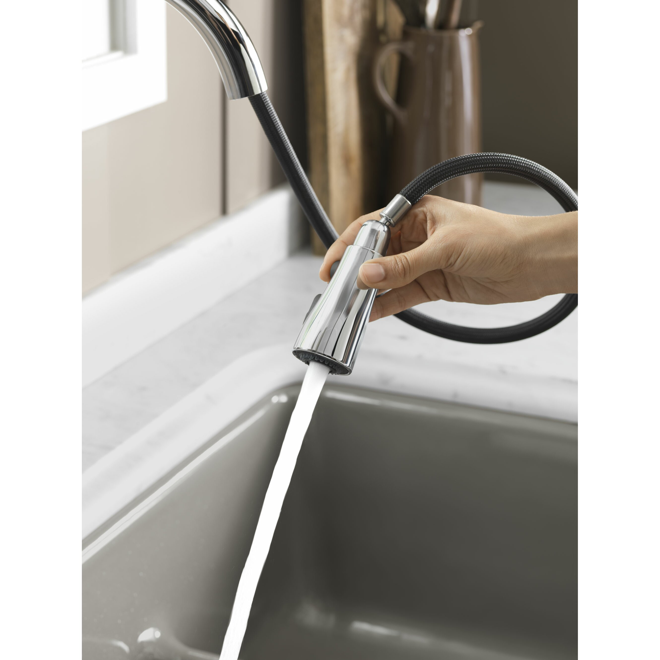 kohler simplice kitchen sink faucet with 16 5 8 quot pull down