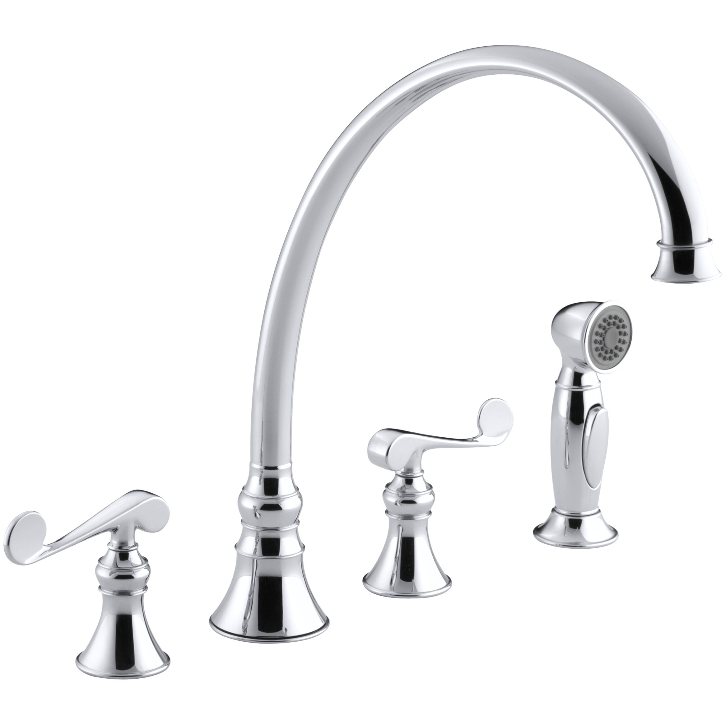 four hole kitchen faucet kohler revival 4 hole kitchen sink faucet with 11 13 16 quot spout matching finish sidespray and 858