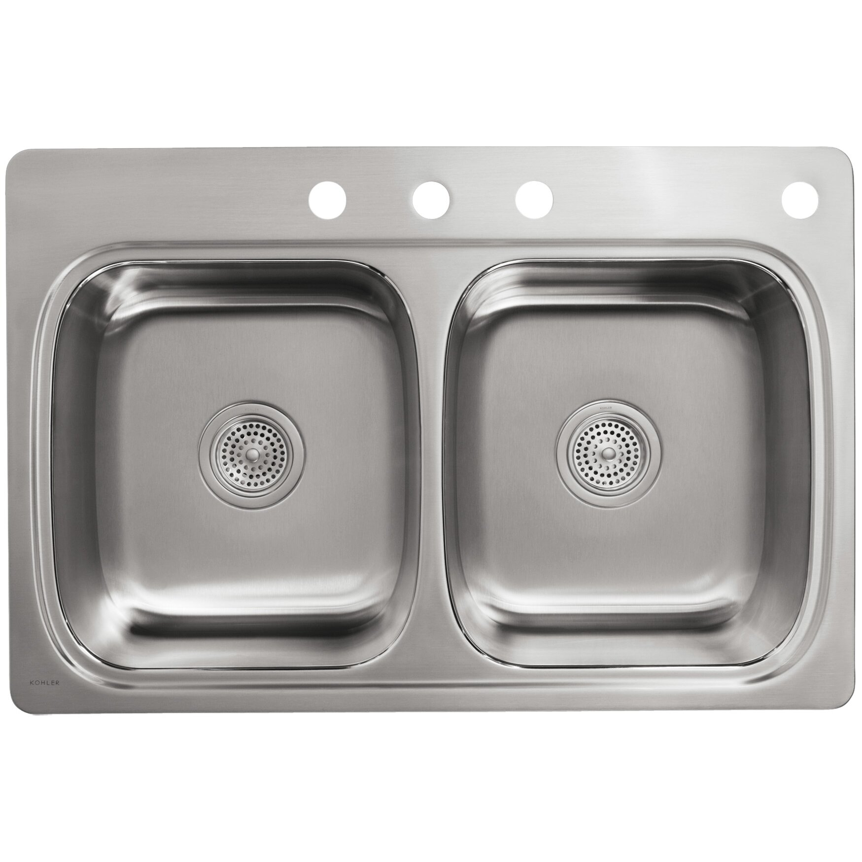 Kohler Verse Top Mount Double Equal Bowl Kitchen Sink With 4 Faucet Holes Wayfair