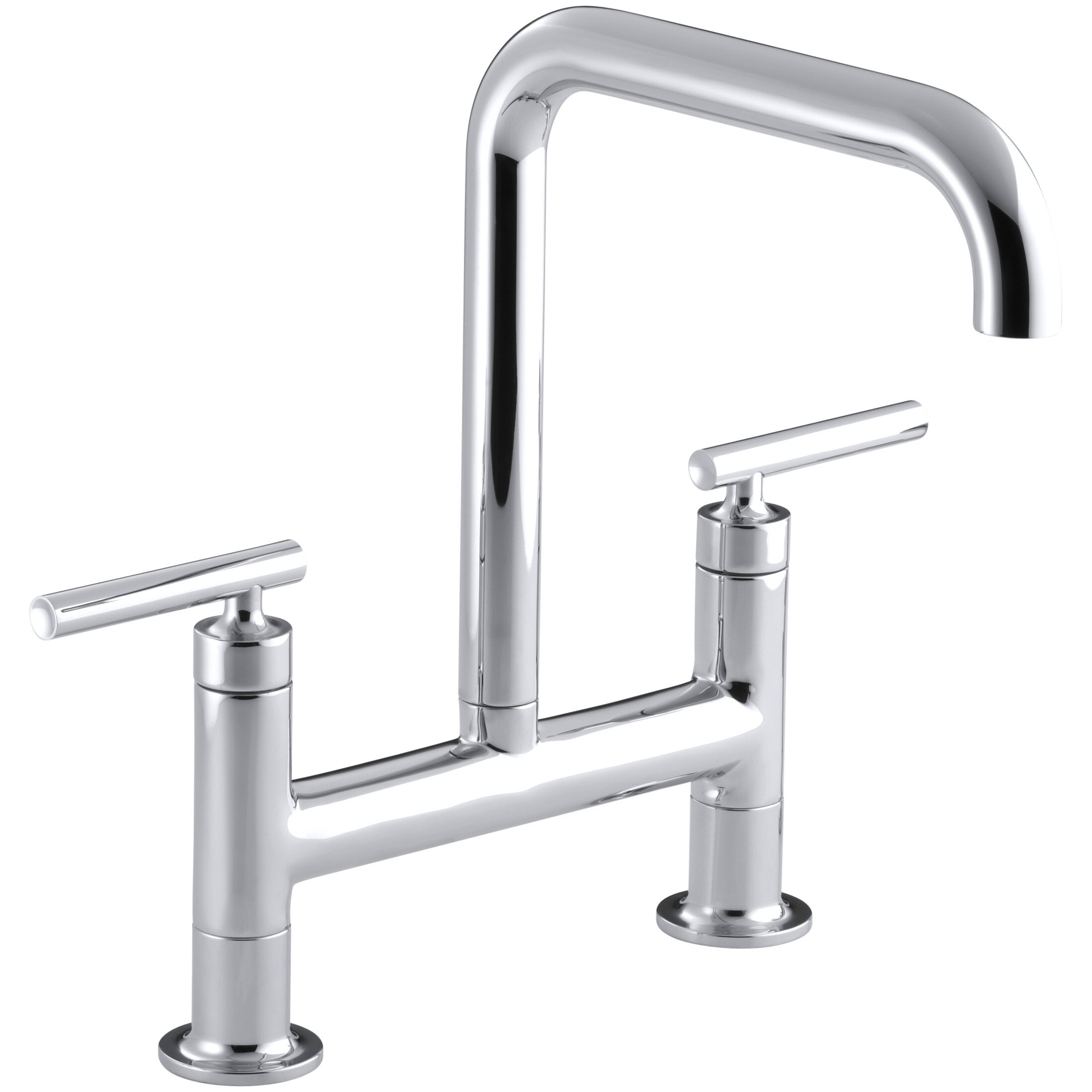 Kohler Faucet Reviews : Kohler Purist Two-Hole Deck-Mount Bridge Kitchen Sink Faucet & Reviews ...