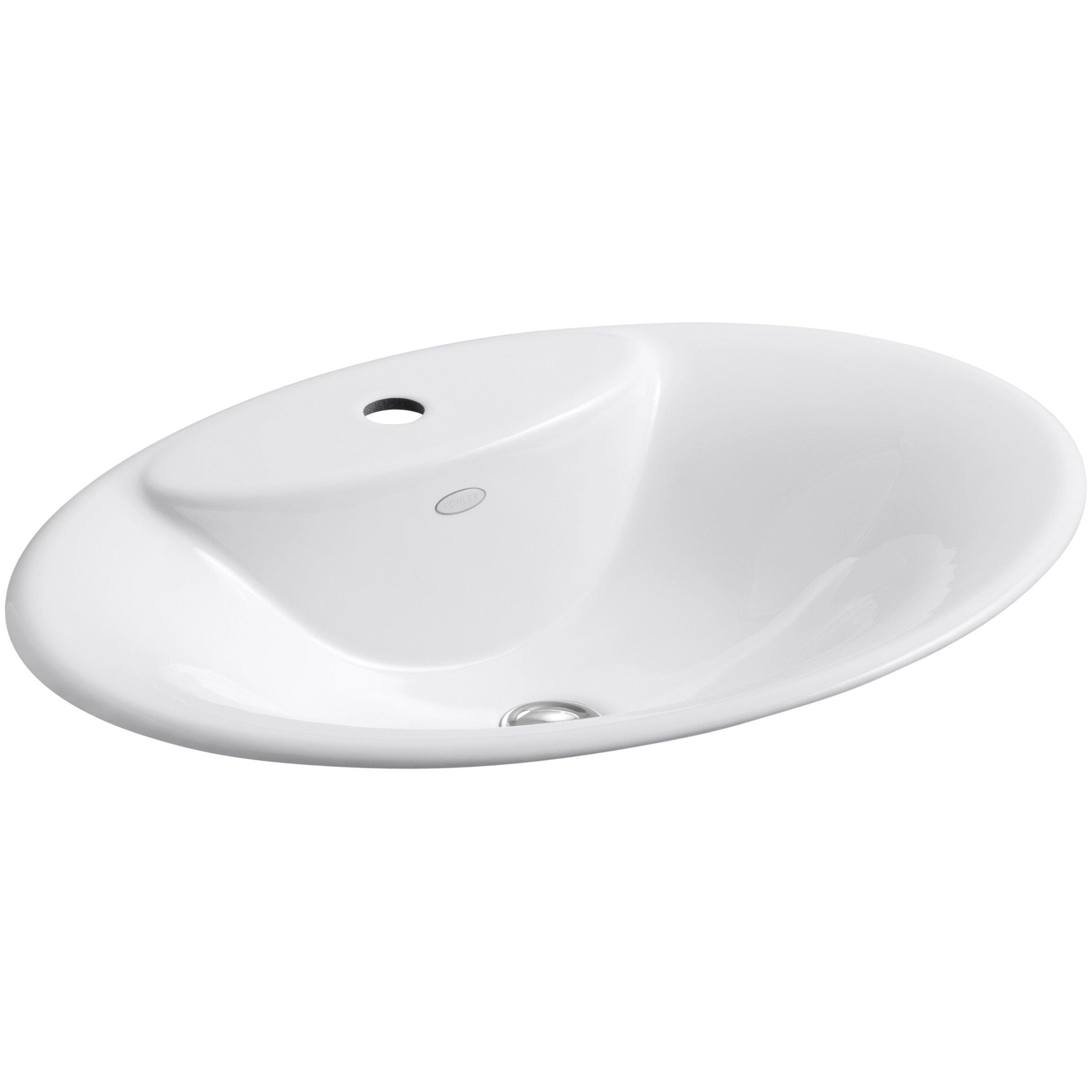 Kohler maratea drop in bathroom sink with single faucet hole reviews wayfair for Kohler bathroom single hole faucets
