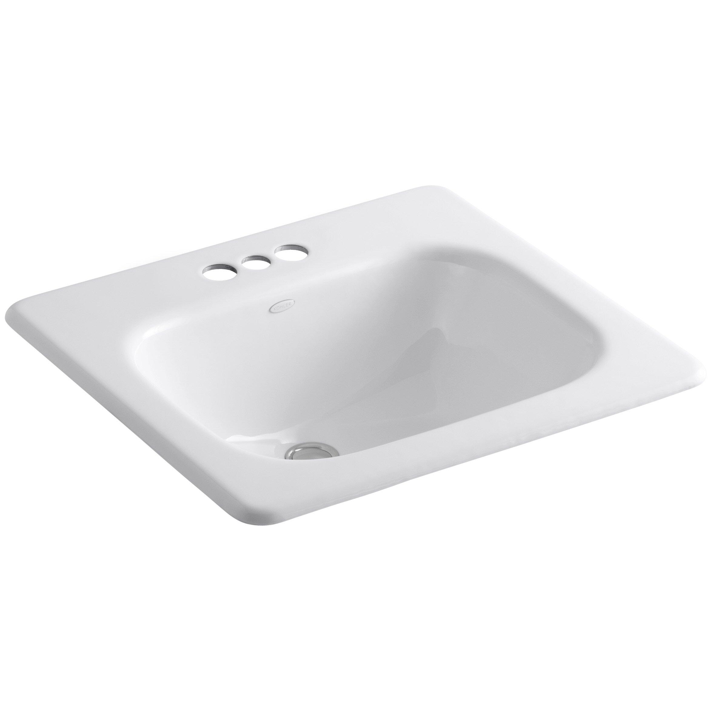 "Kohler Tahoe Drop In Bathroom Sink with 4"" Centerset"