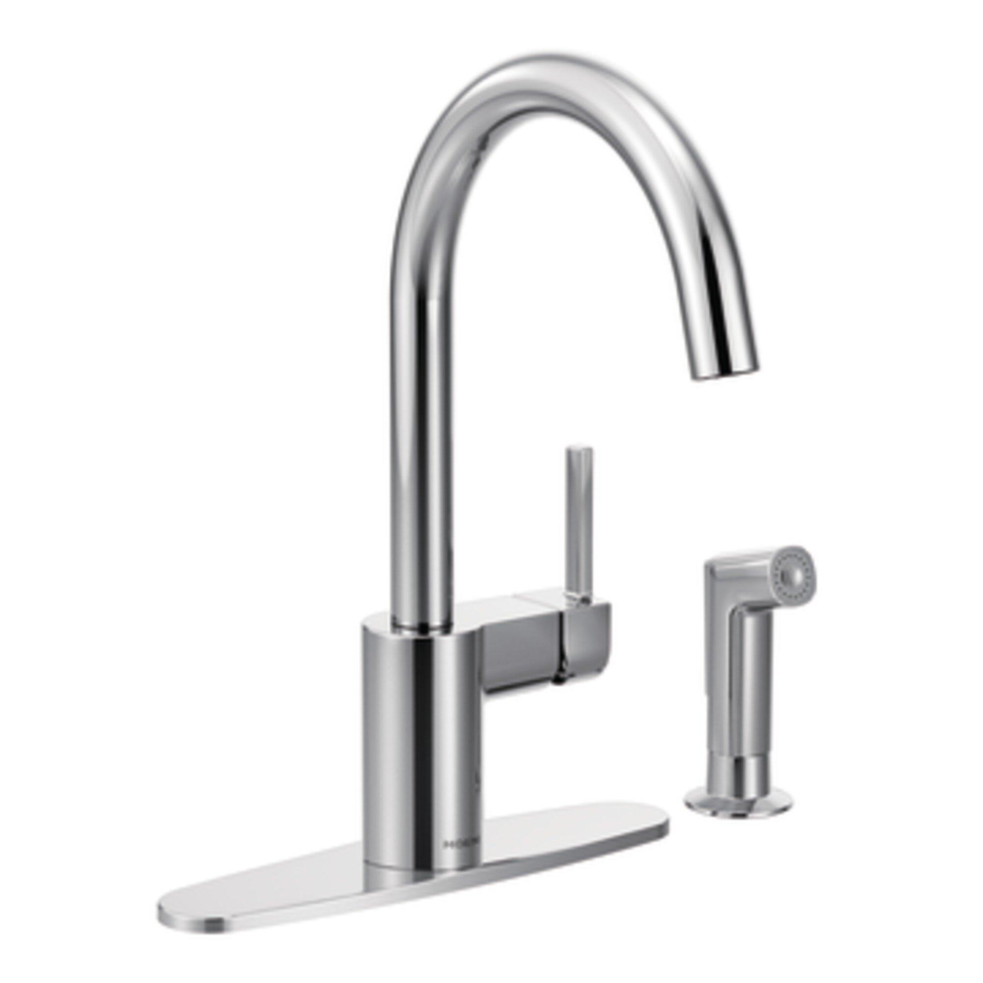 Moen Align Single Handle Deck Mounted Kitchen Faucet Reviews Wayfair
