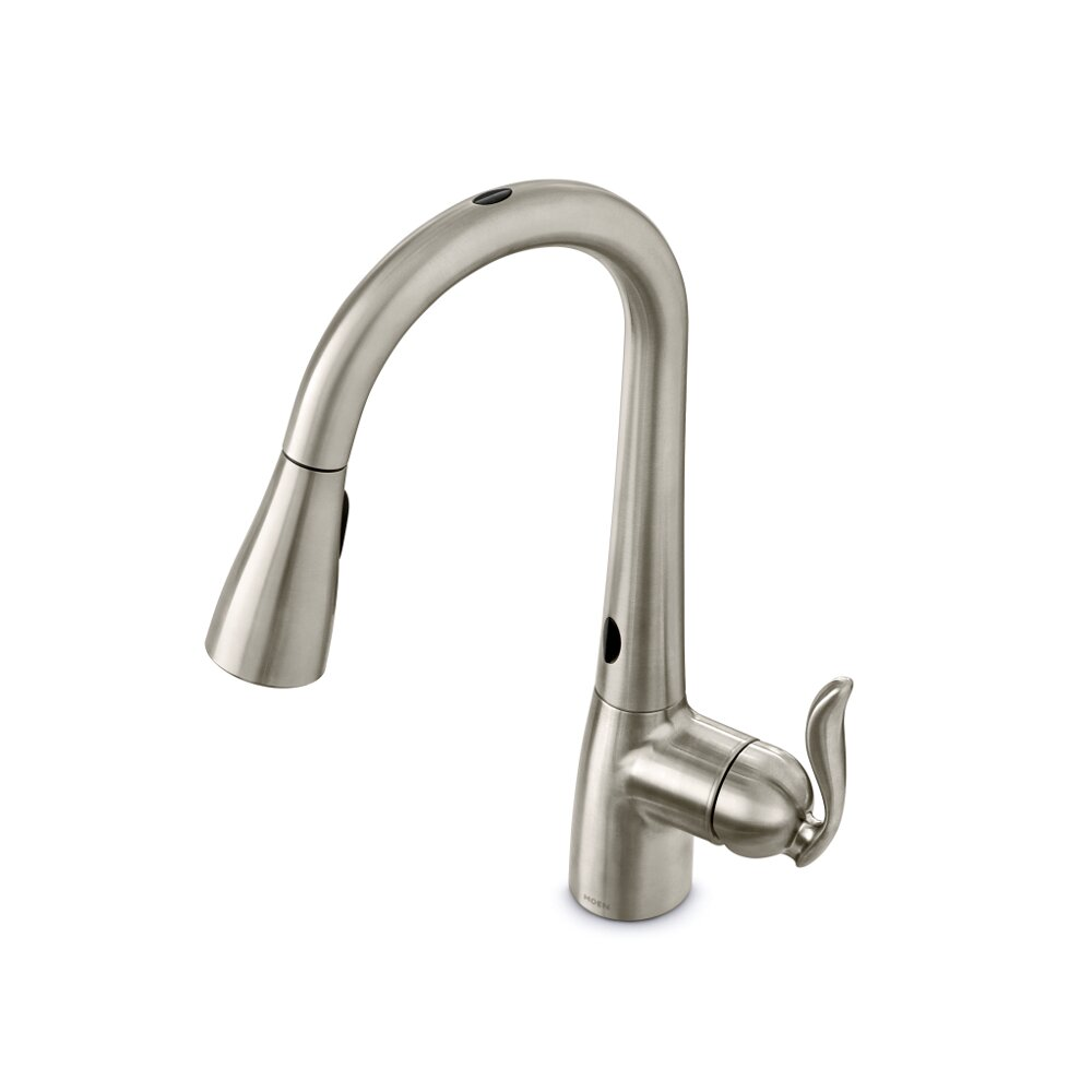 moen arbor single handle single hole kitchen faucet shop moen arbor spot resist stainless 1 handle high arc
