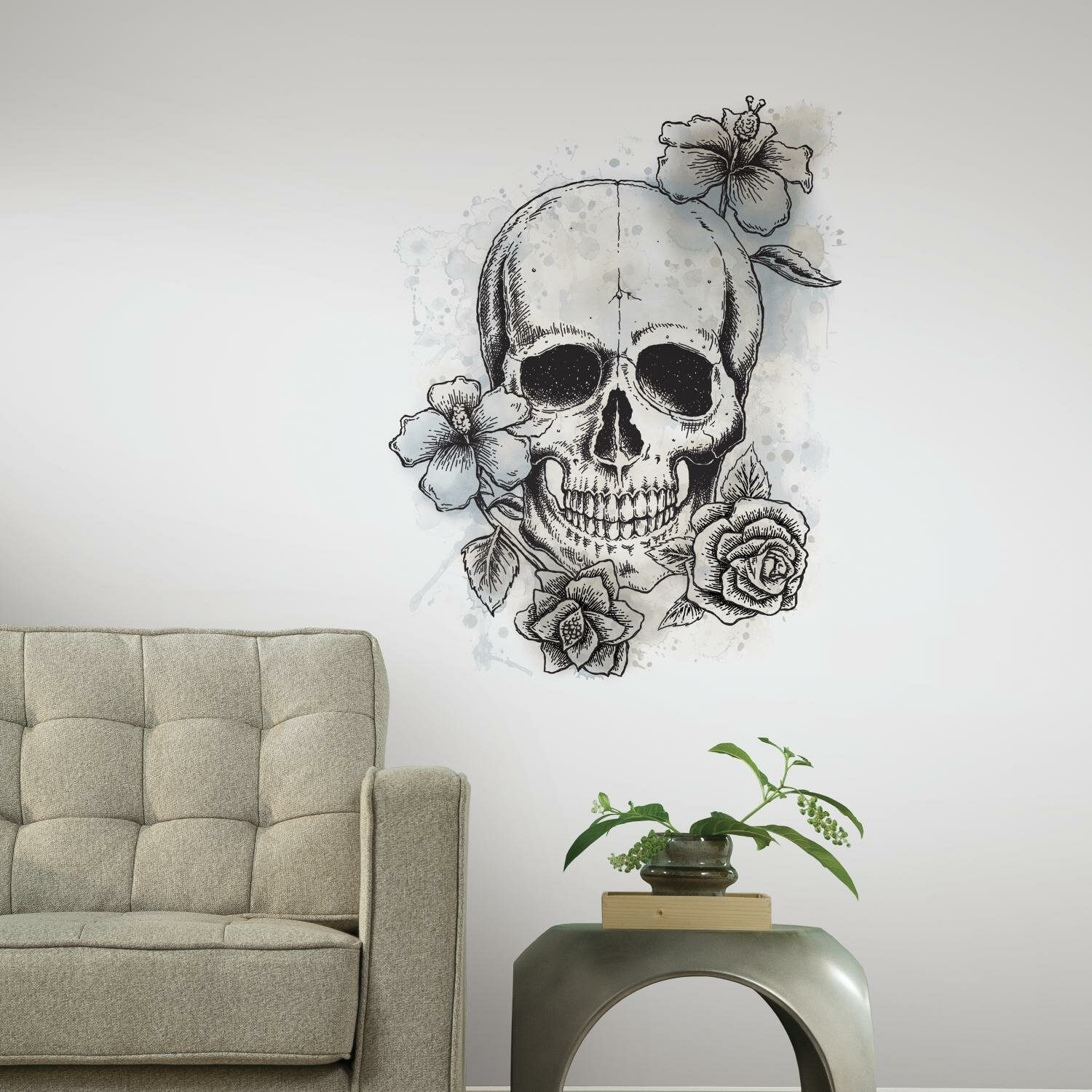 Nursery Wall Stickers Next Room Mates Internet Only Neutral Floral Skull Wall Decal