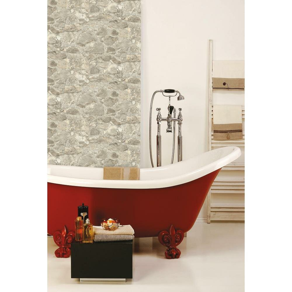 Room mates peel and stick 16 5 39 x 20 5 stone roll for Wayfair bathroom wallpaper