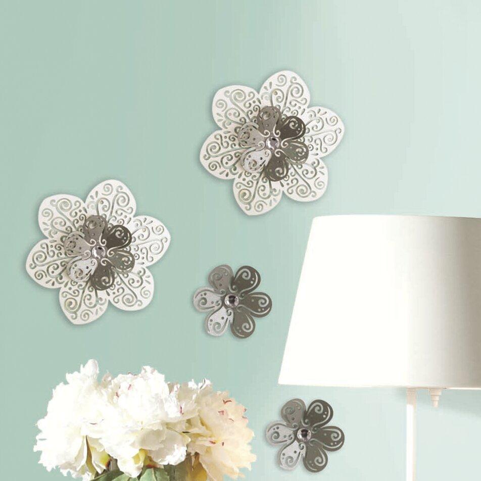 Room mates 3d cutout flower embellishments wall decal for Room decor embellishment art 3d