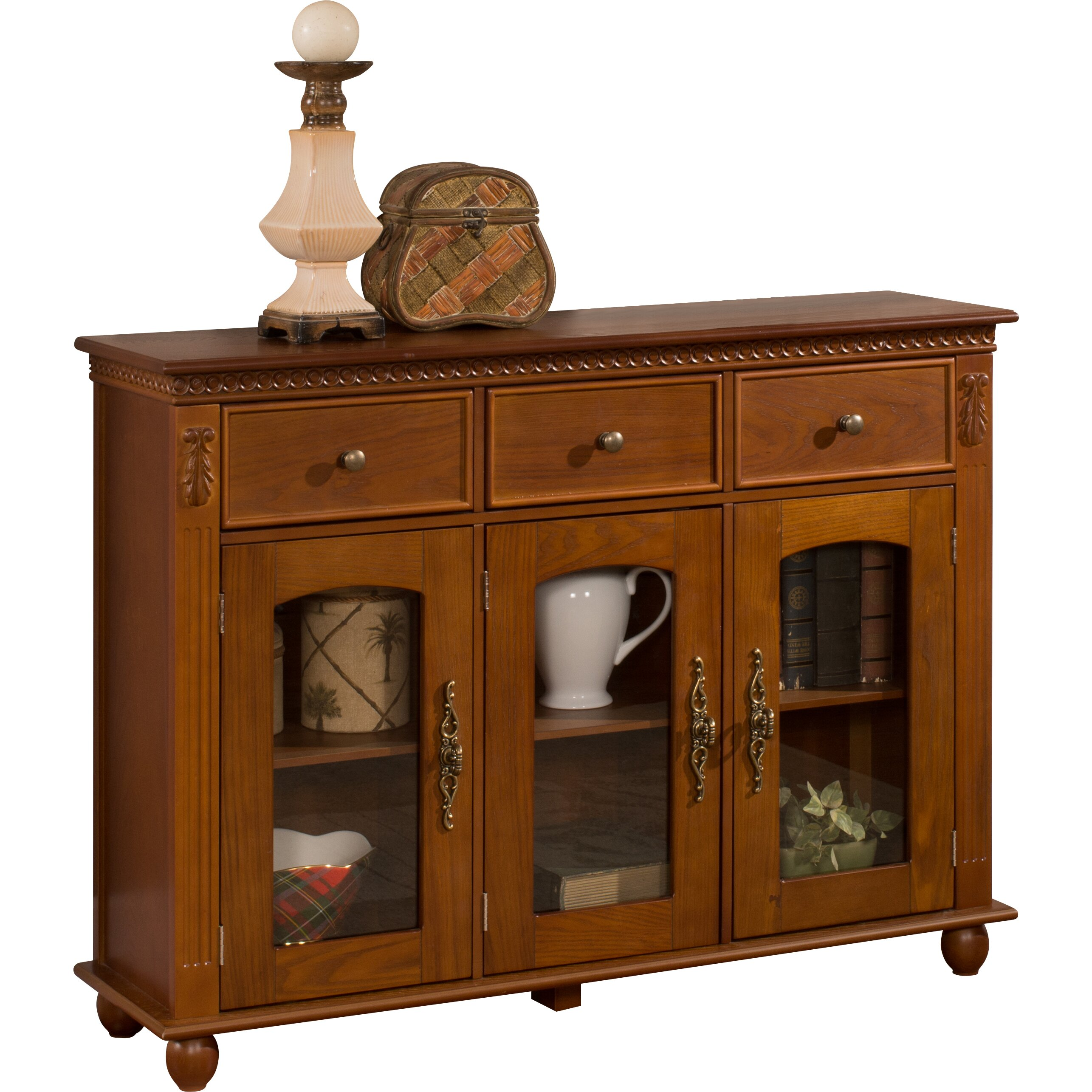 Inroom designs console table cabinet reviews wayfair - Sofa table with cabinets ...