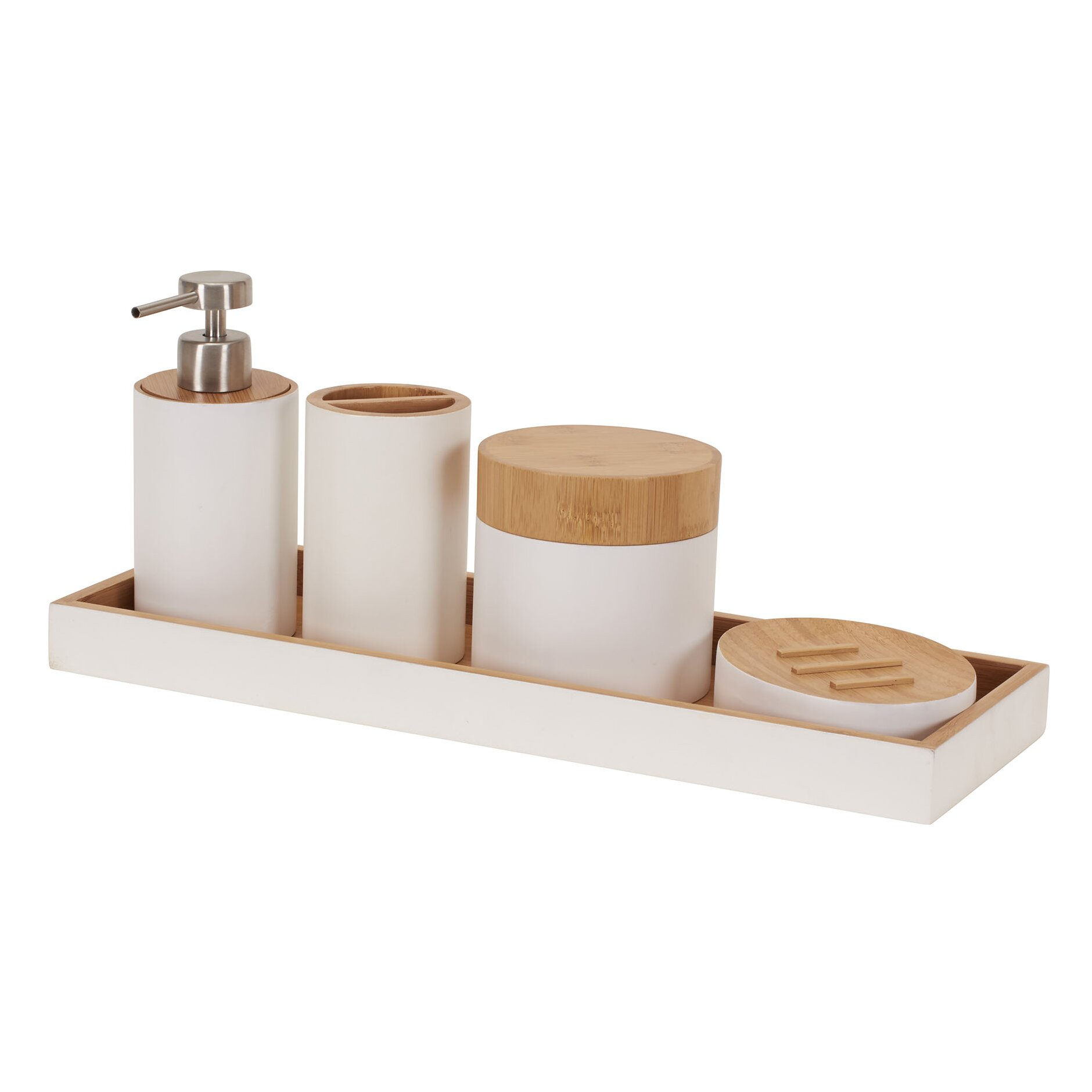 Household essentials elements 6 piece bamboo bathroom set for Bathroom essentials set