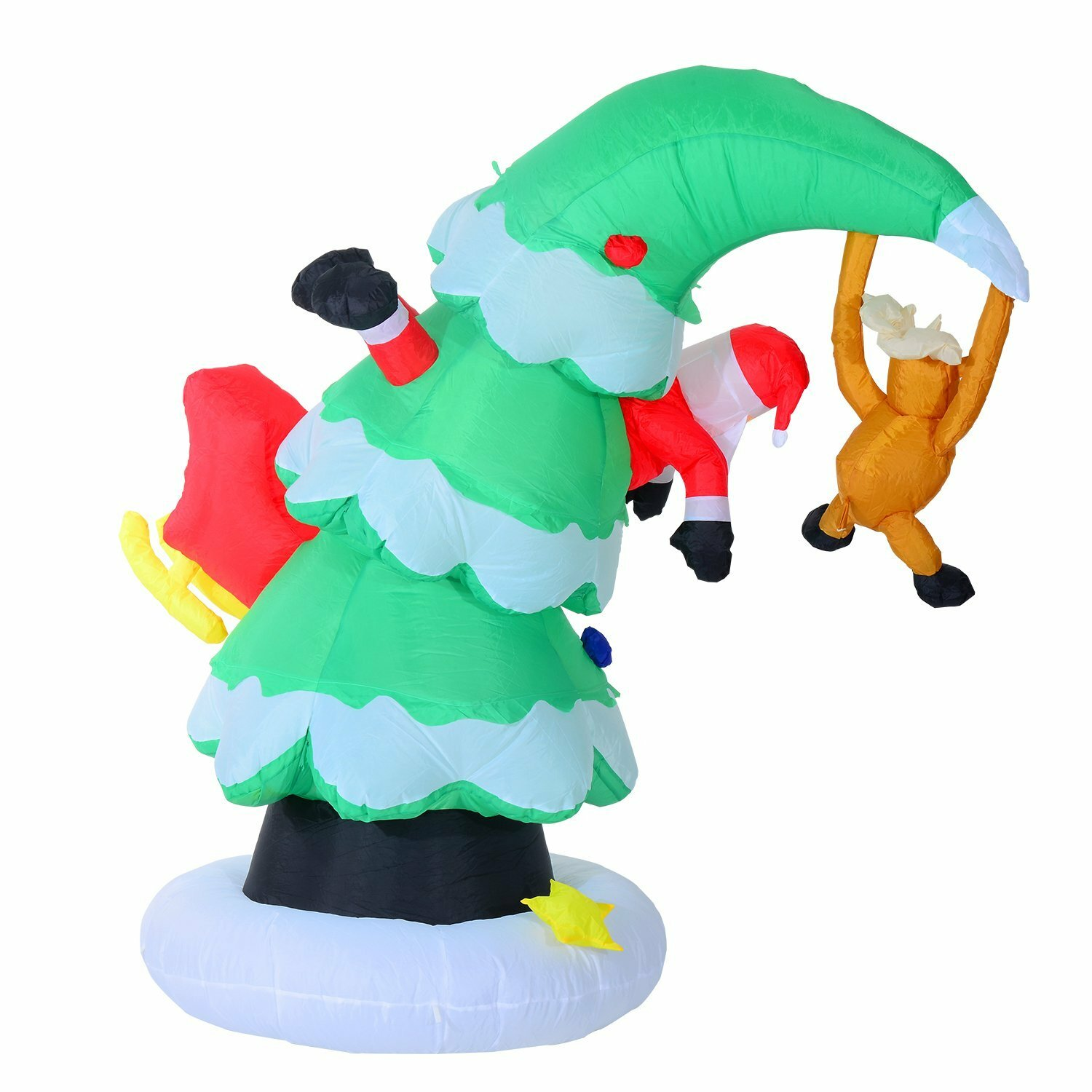 Santa Claus Lawn Decorations: Aosom 7' Inflatable LED Lit Santa Claus Stuck In Christmas