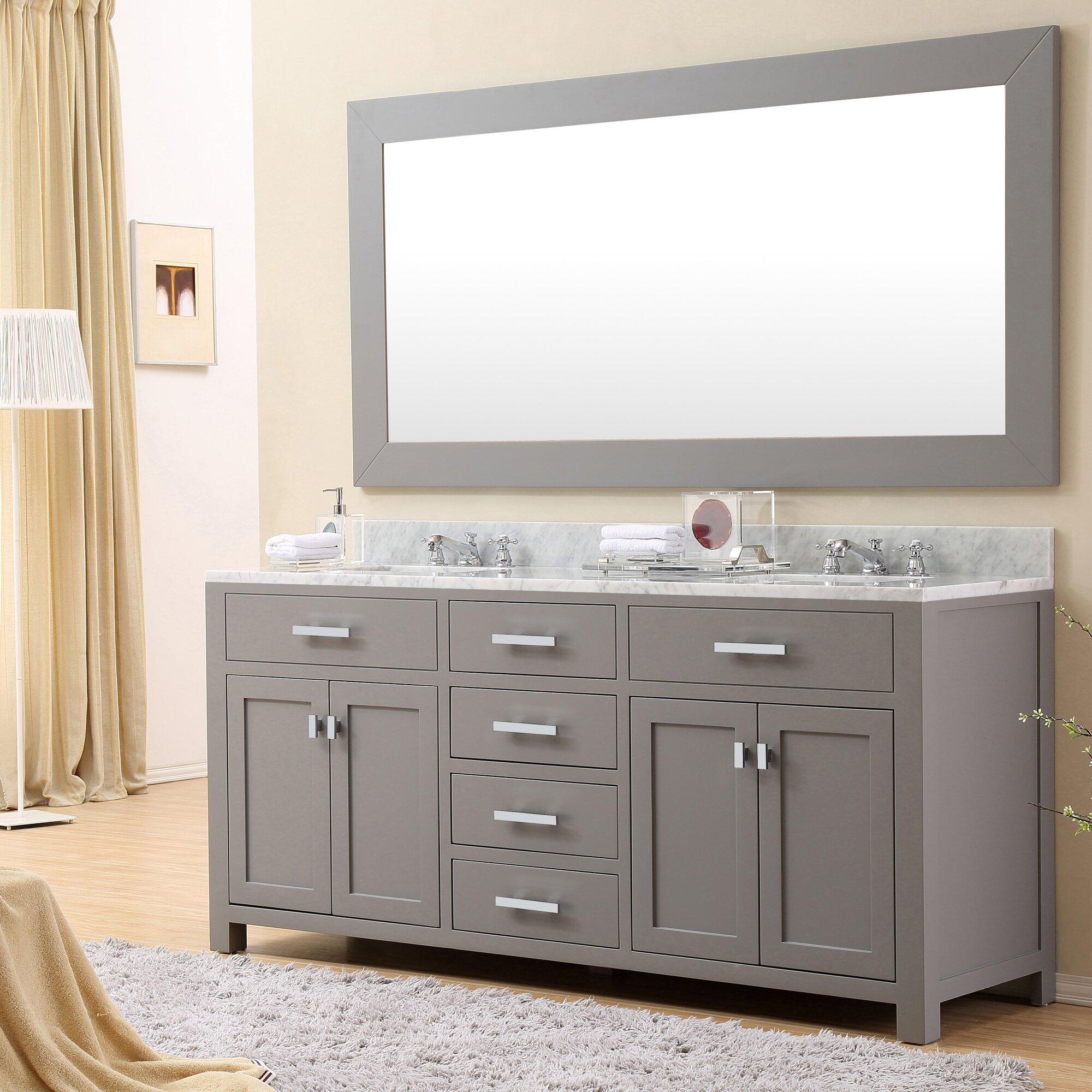 "Double Sink Mirrored Bathroom Vanity: DCOR Design Creighton 72"" Double Sink Bathroom Vanity Set"