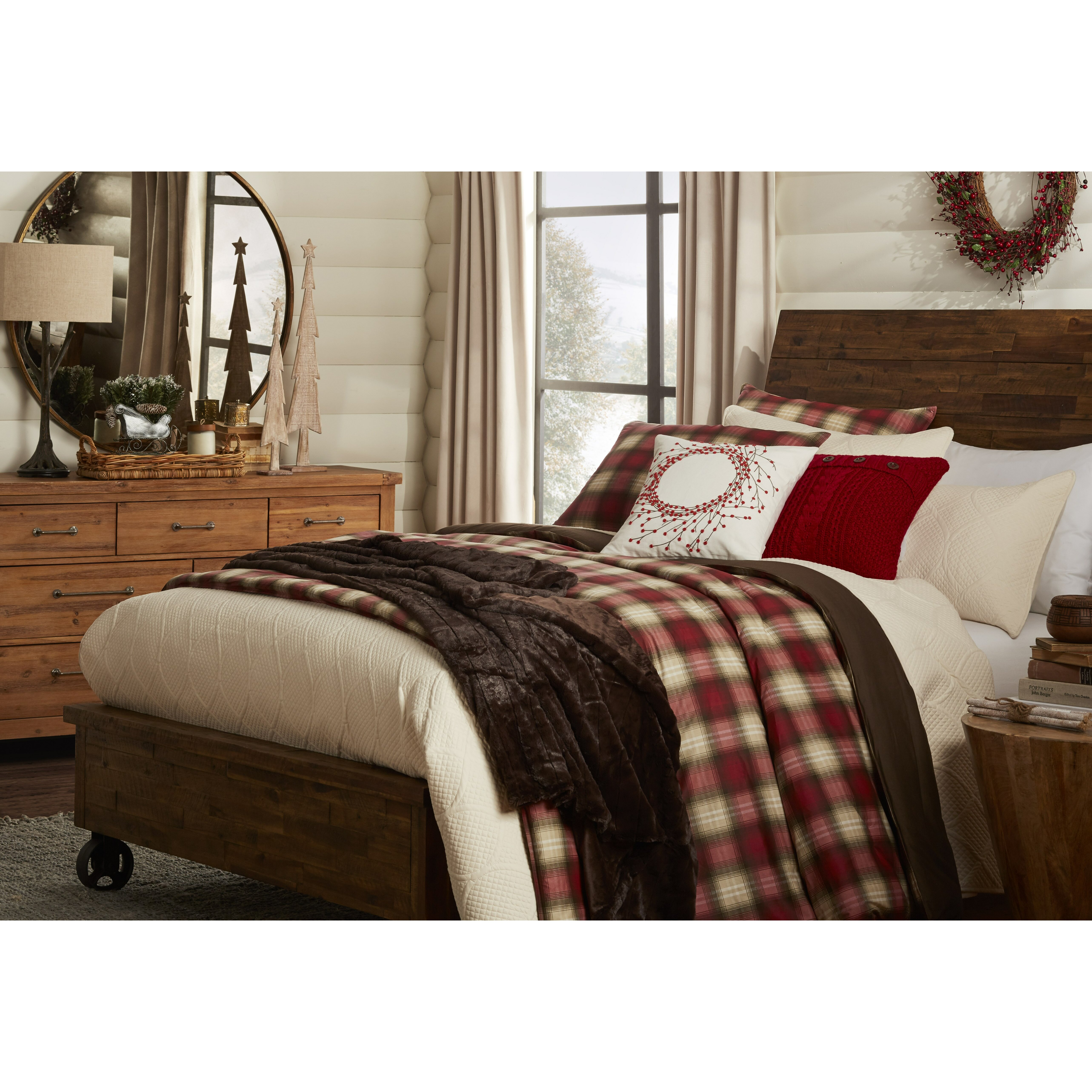 tufted with corner your set brown bed plaid sets bath design faux and for red comfortable headboard bedroom comforter leather decoration fireplace interesting