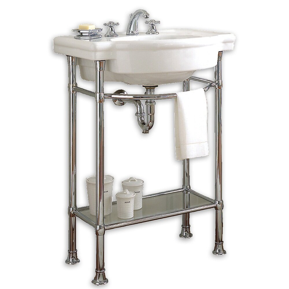 American standard retrospect console table with bathroom for Pedestal sink with metal legs