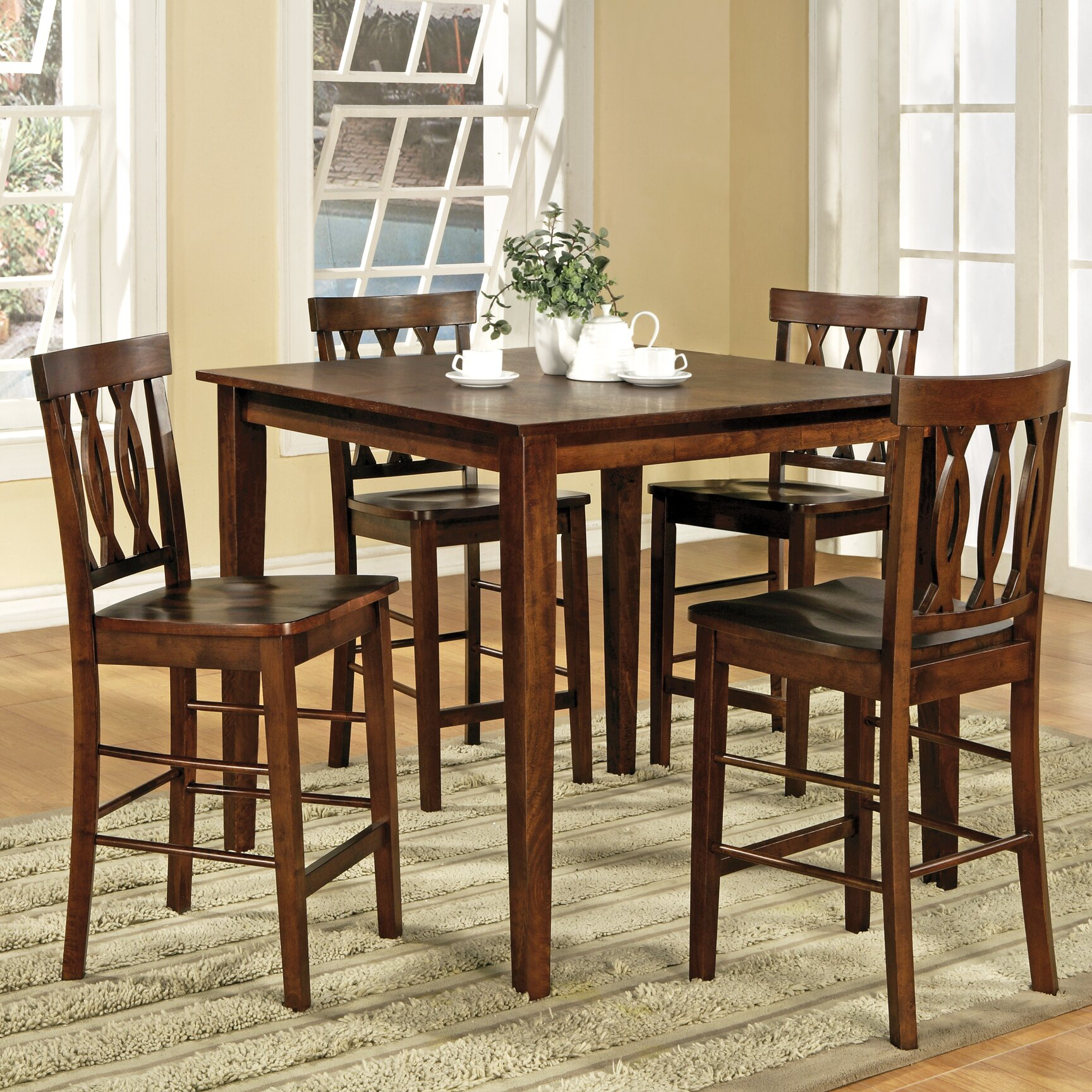 Steve silver furniture richmond 5 piece counter height for Counter height dining set