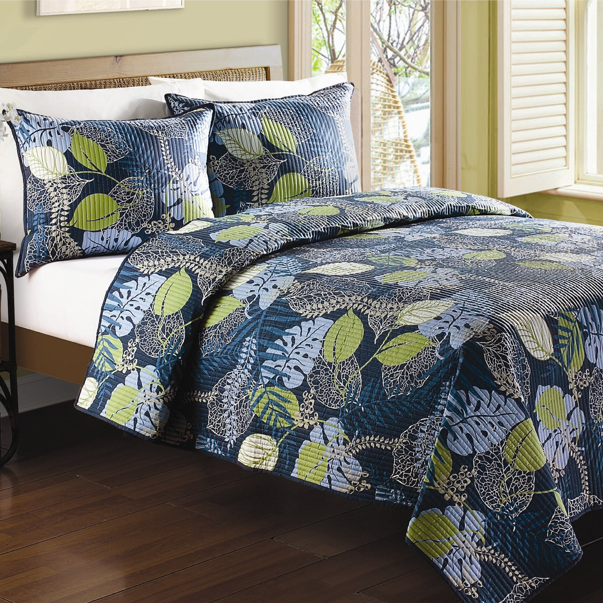 J Amp J Bedding Tropical Leaves Quilt Amp Reviews Wayfair