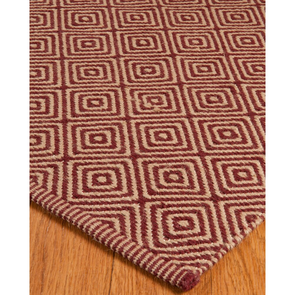 Natural area rugs jute retro cream red area rug wayfair for Cream and red rugs