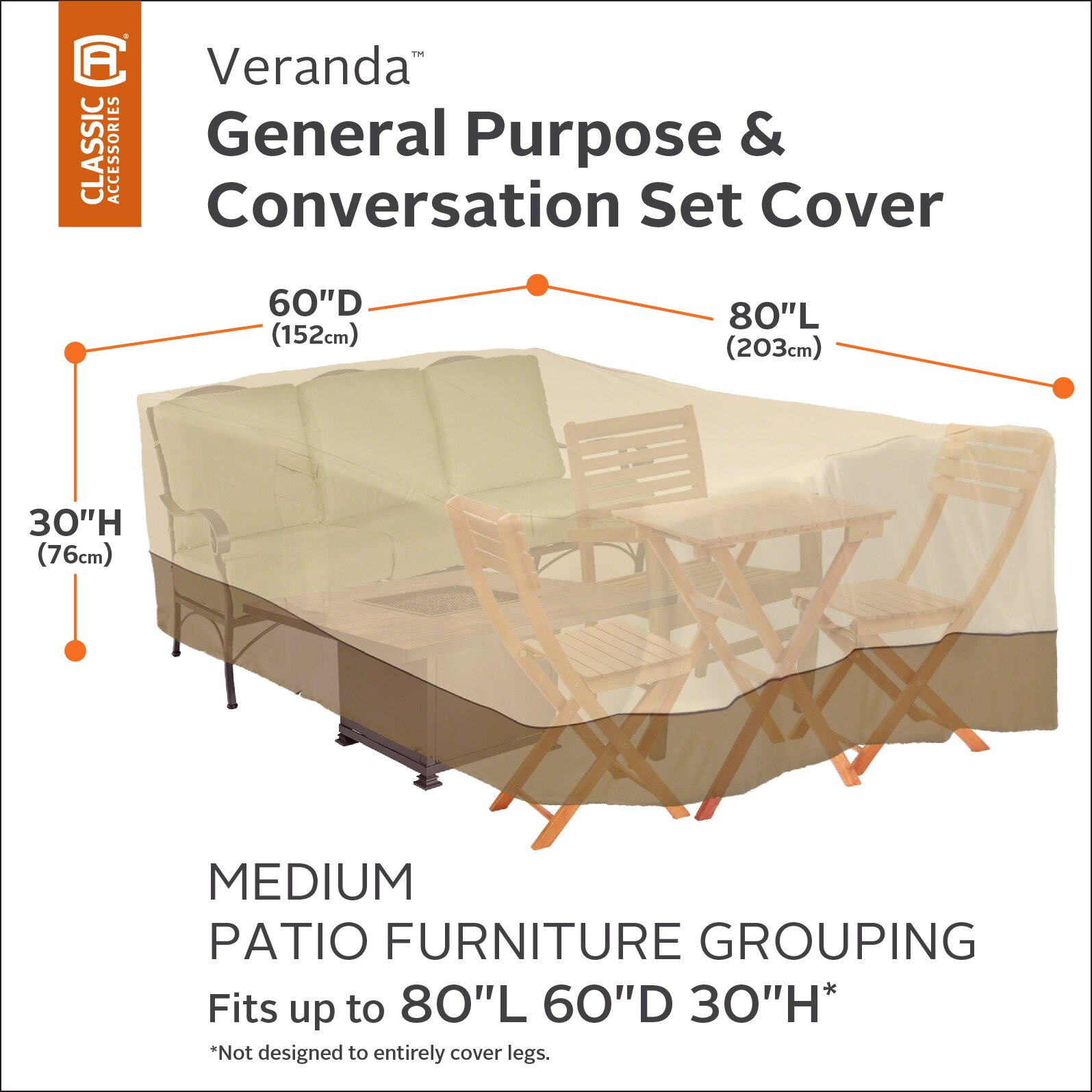 Classic Accessories Veranda General Purpose Patio Furniture Cover