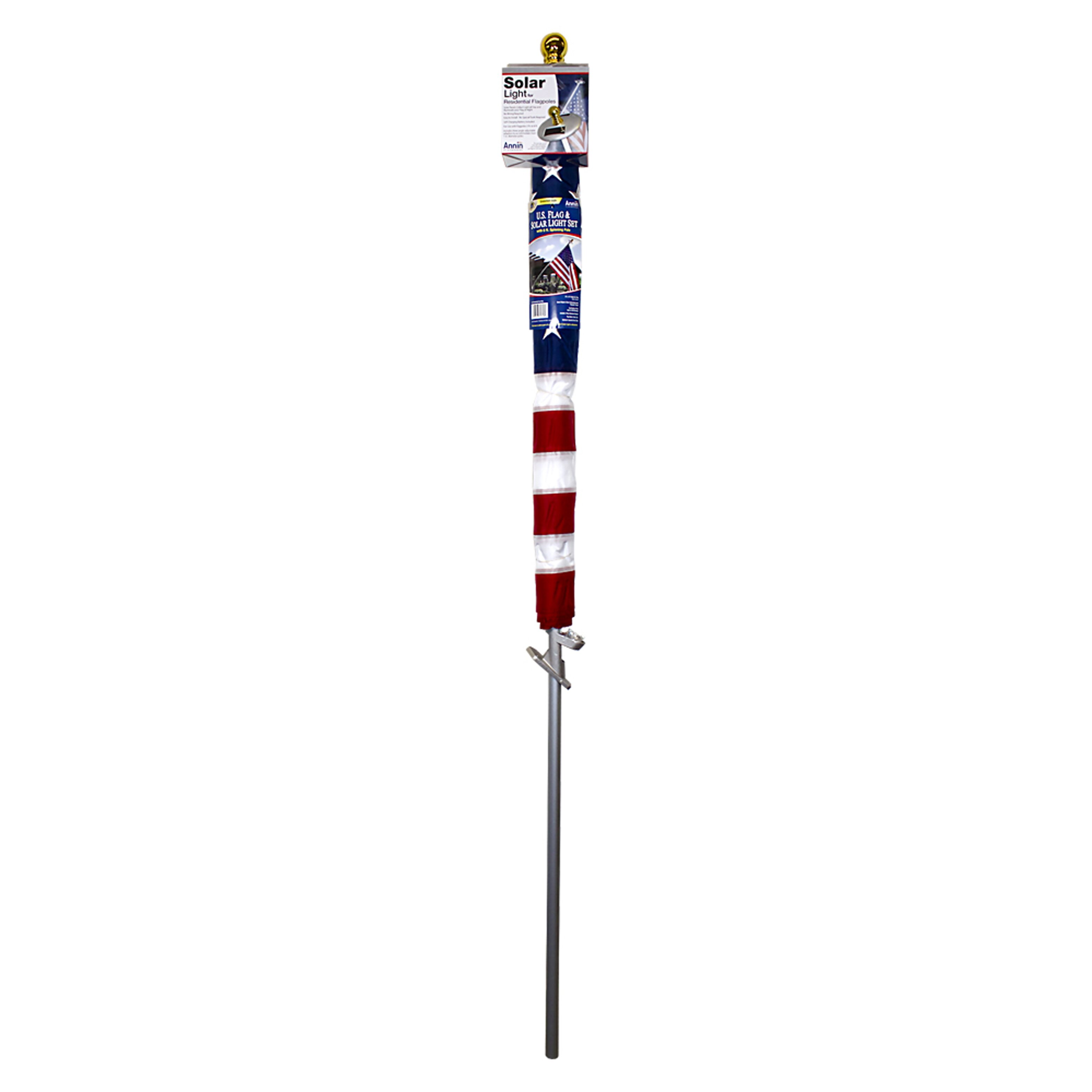 flagmakers spinning flagpole with us flag and mini solar light set. Black Bedroom Furniture Sets. Home Design Ideas