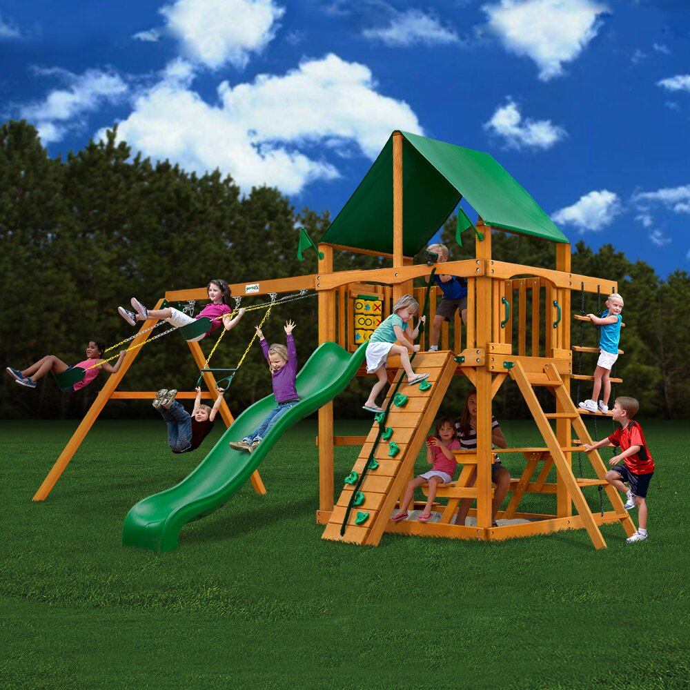 Gorilla playsets chateau ii with amber posts cedar swing for Gorilla playsets
