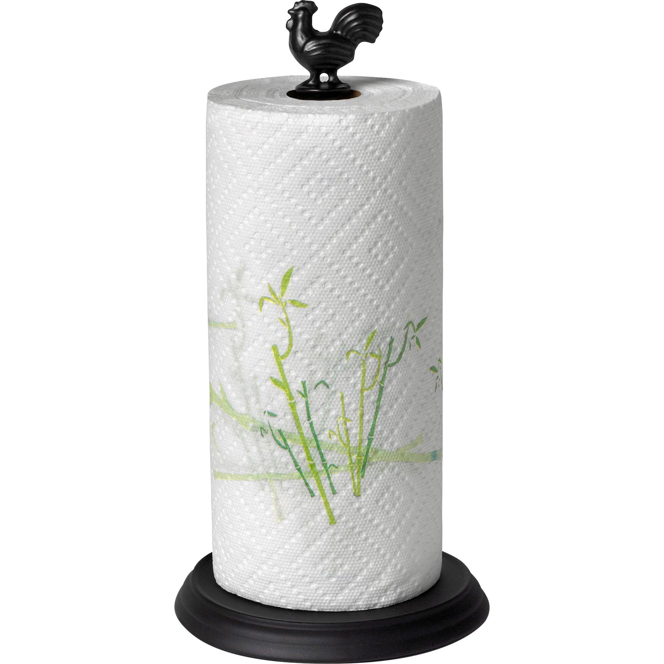 Spectrum Diversified Rooster Paper Towel Holder In Black