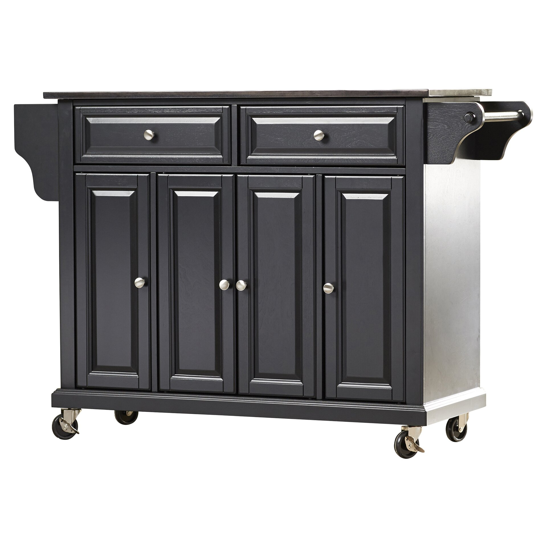 Crosley lafayette kitchen island with solid black granite for Black kitchen island with granite top