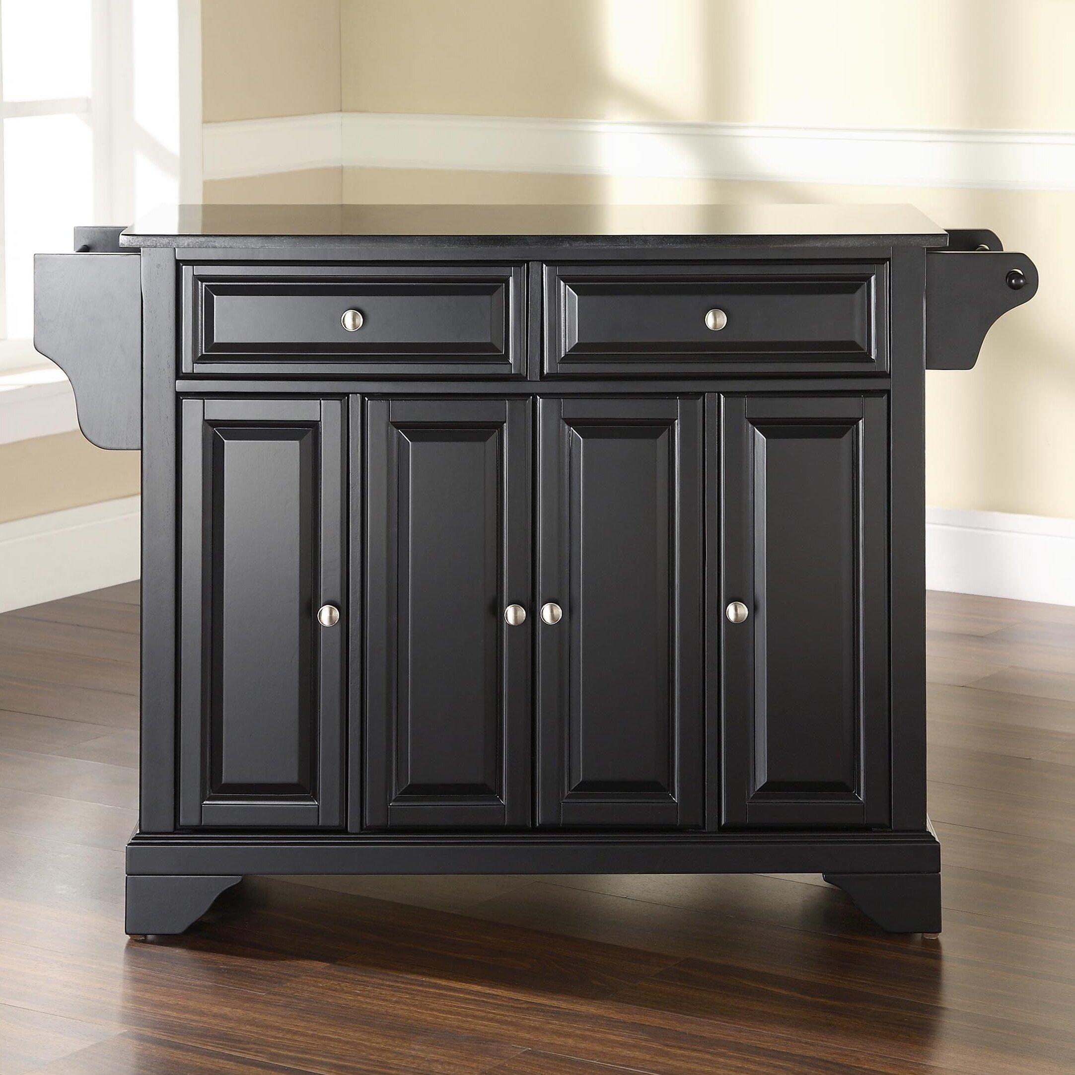 crosley lafayette kitchen island with solid black granite rustic oak kitchen island with black granite top