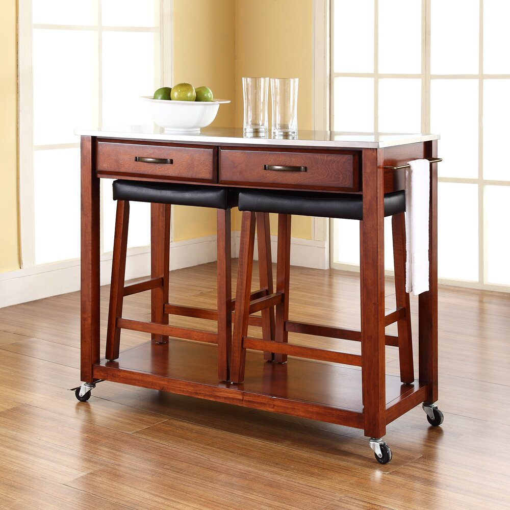 Crosley Kitchen Island Set With Stainless Steel Top
