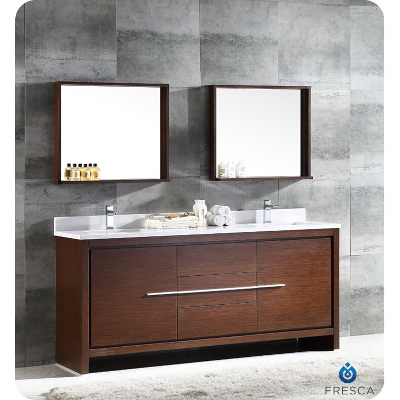 trieste allier 72 double modern sink bathroom vanity set with mirror