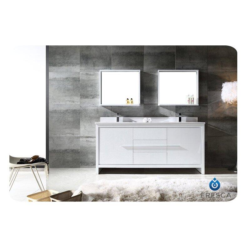 Fresca Trieste Allier 72 Double Modern Sink Bathroom Vanity Set With Mi