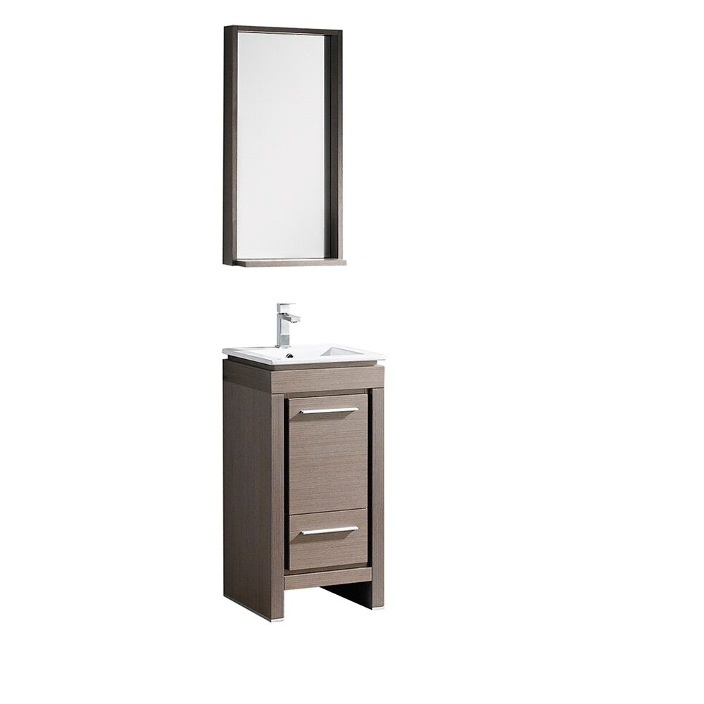 Fresca allier 16 single small modern bathroom vanity set for Mirrored bathroom set