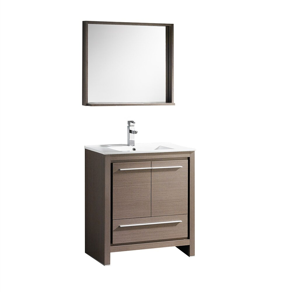 Fresca allier 30 single modern bathroom vanity set with mirror reviews wayfair - Linden modern bathroom vanity set ...